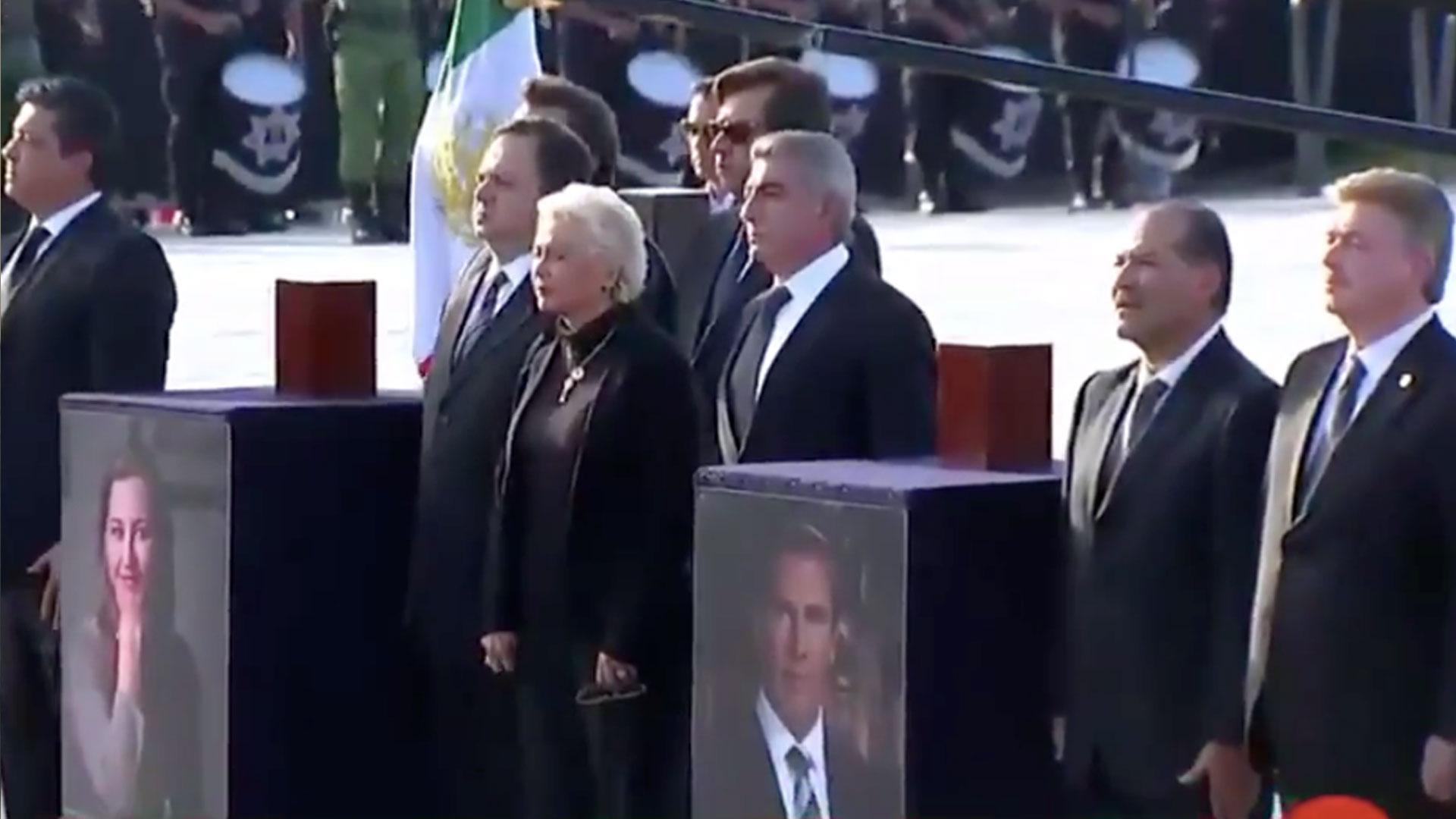 La secretaria de Gobernación, Olga Sánchez Cordero, durante el homenaje a la gobernadora de Puebla, su esposo y las otras tres víctimas del accidente. (Foto: Captura Forotv, Televisa)