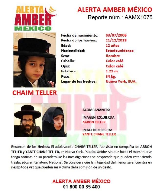 Activan alerta amber para buscar en México al adolescente judío, Chaim Teller. (Foto: Alerta Amber)