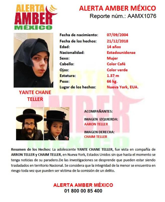Ficha de alerta amber de adolescente judía, Yante Teller (Foto: Alerta Amber)