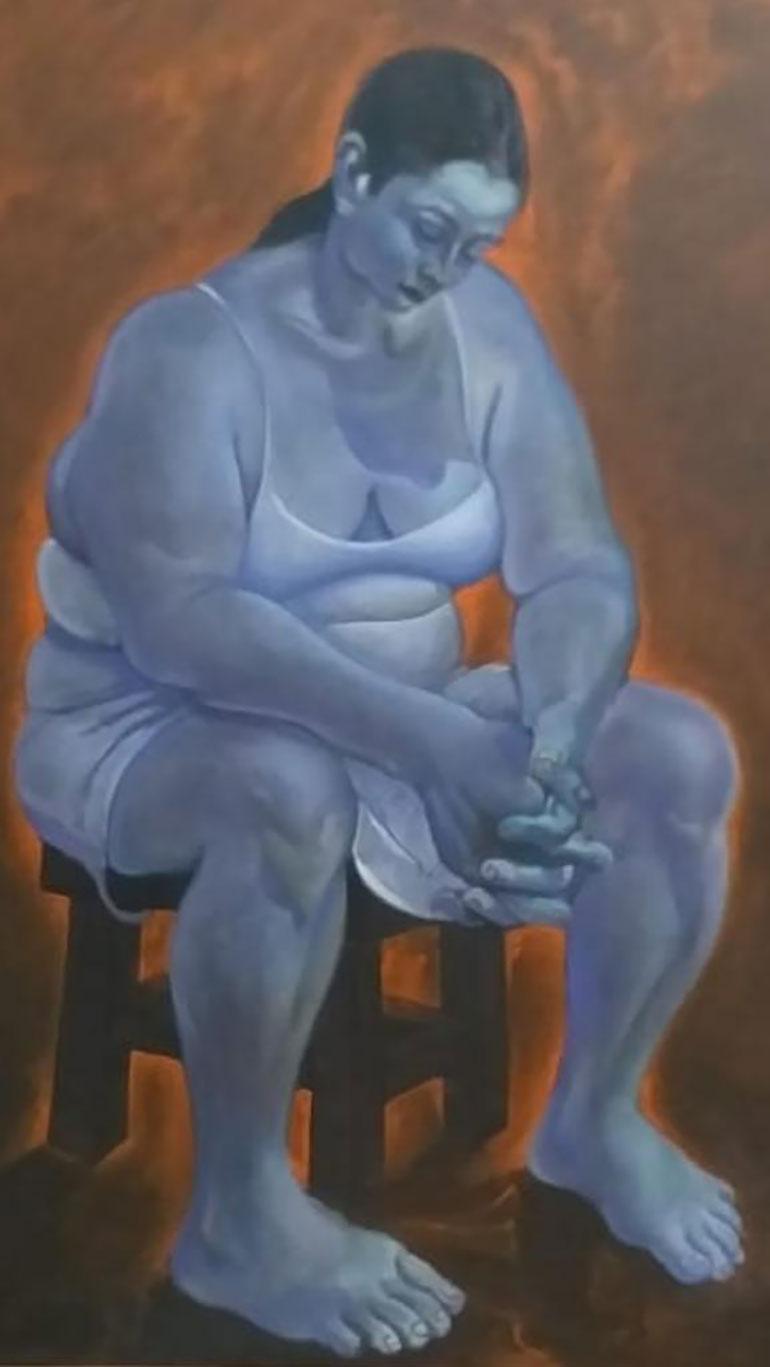 L voluptuosidad de la figura femenina ensimismada, en una obra del boliviano Heberth Román. ¿Regalo de Evo Morales a la expresidenta?