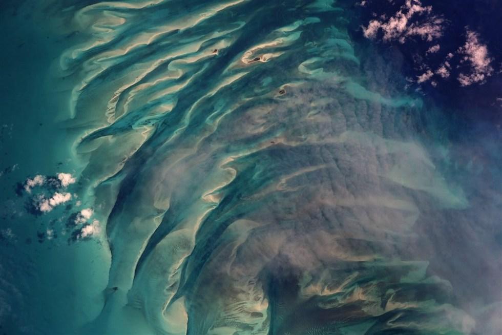 El mar en Eleuthera, en las islas Bahamas, visto desde la Estación Espacial Internacional (Ricky Arnold /NASA)