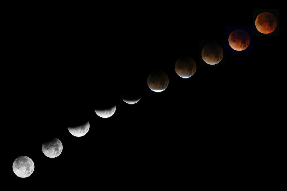 El eclipse lunar del 31 de enero, visto desde Santa Monica, California (AP Photo/Ringo H.W. Chiu)
