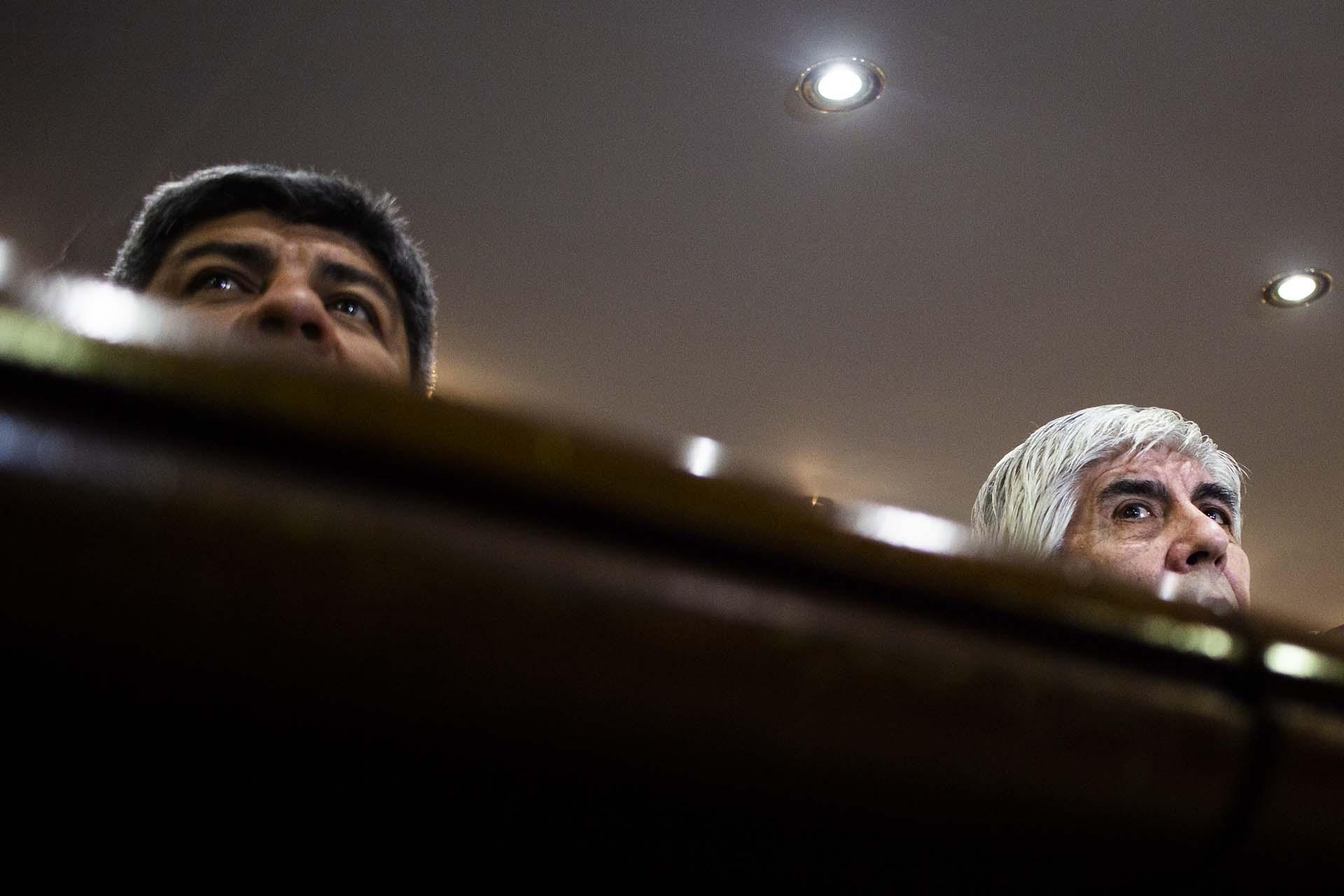 Pablo y Hugo Moyano durante una conferencia de prensa en el sindicato de Camioneros (Matías Baglietto)