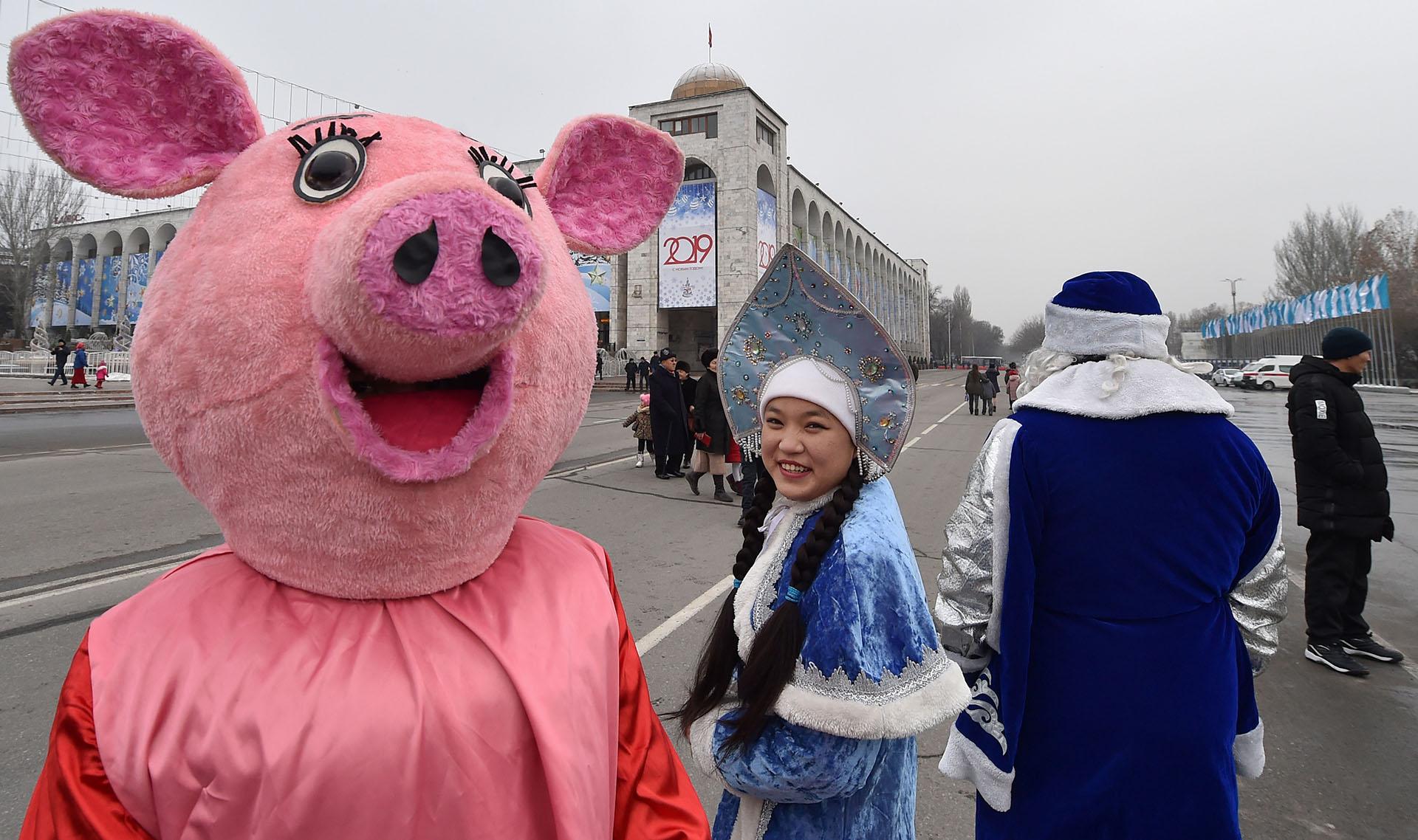 Desfile de Año Nuevo en Bishkek, al norte de Kirguistán