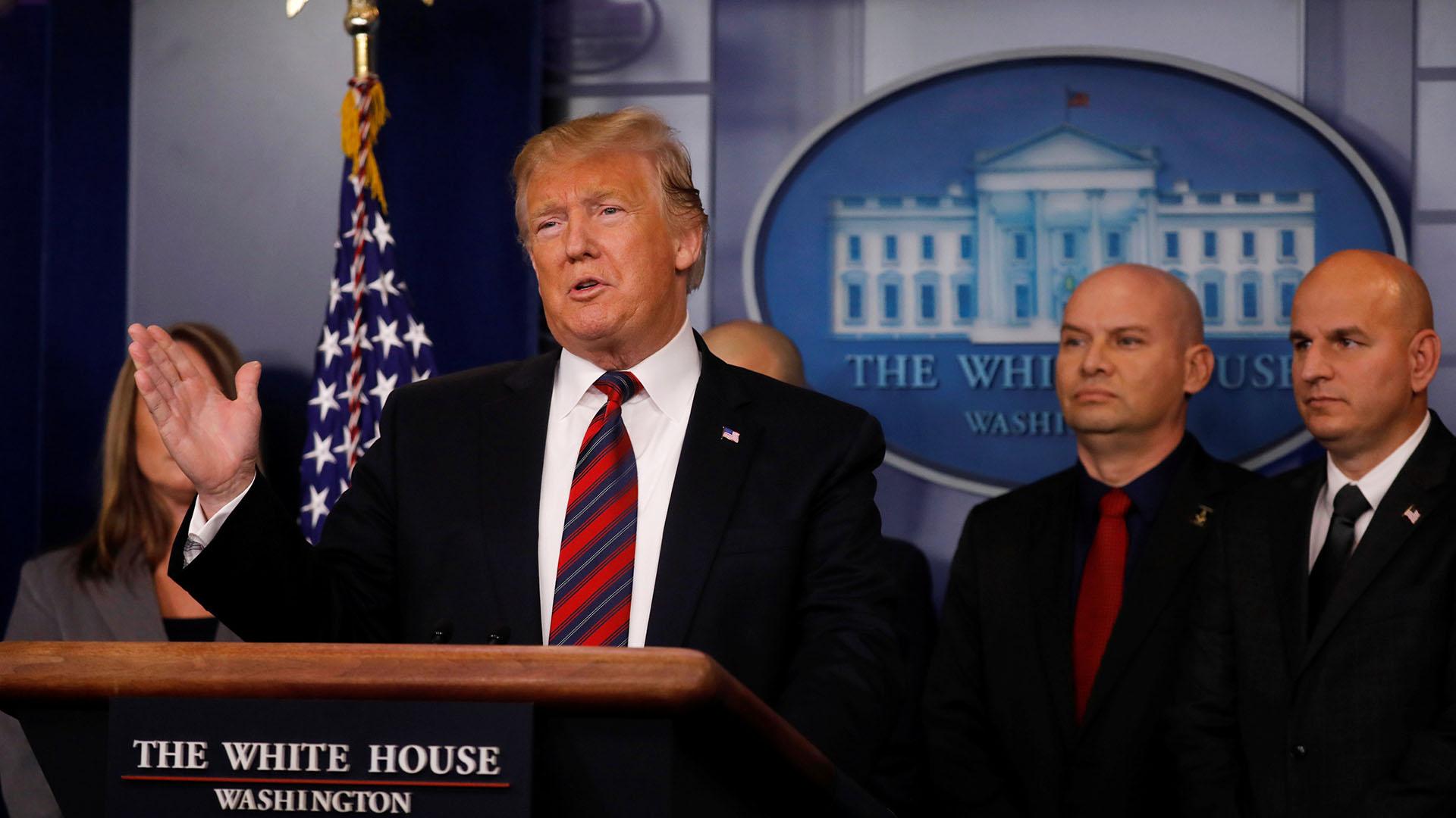 Donald Trump en rueda de prensa tras la elección de la demócrata Nancy Pelosi como presidente de la Cámara de Representantes de EEUU (Reuters)