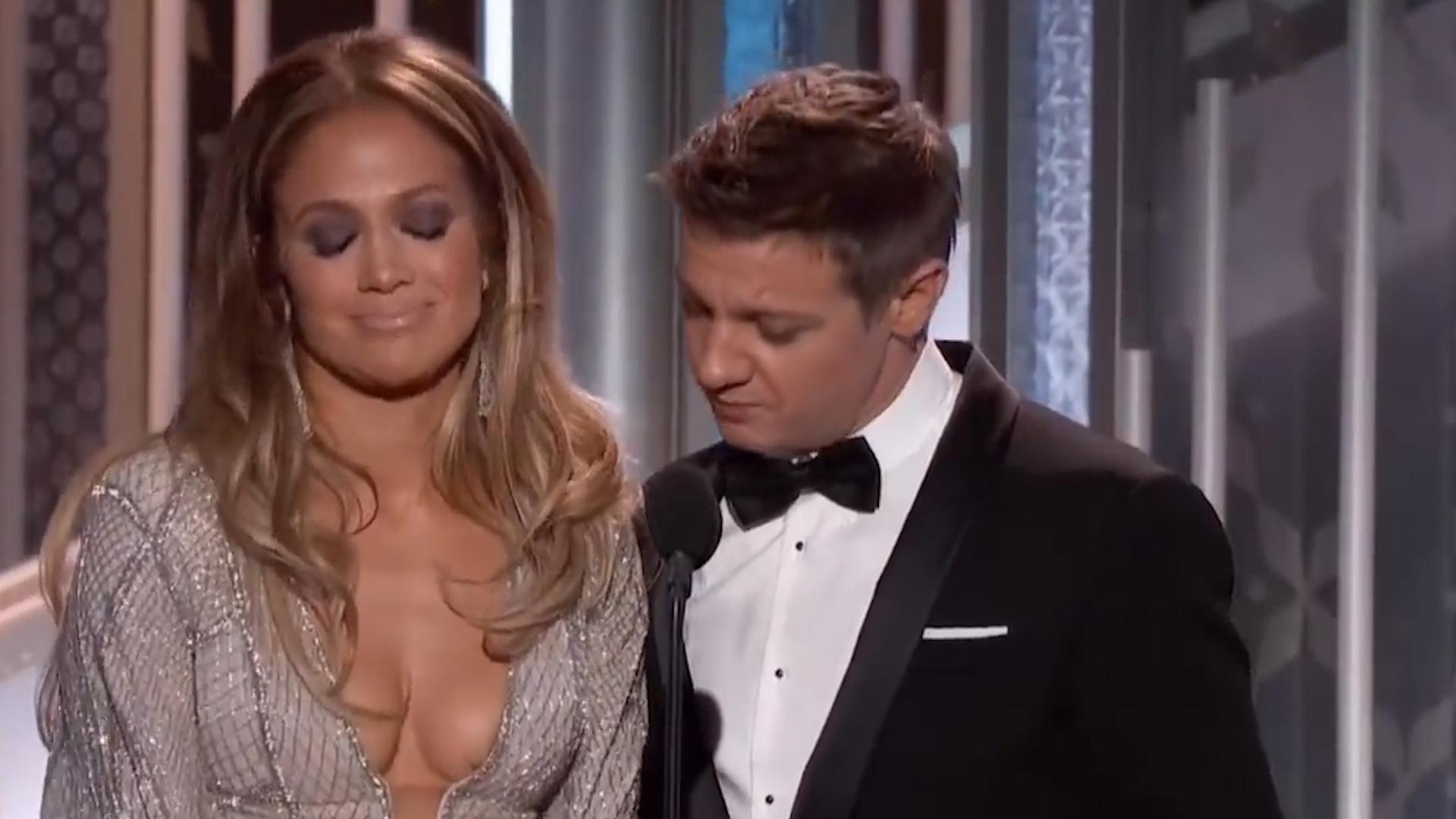 Jeremy Renner incomodó a Jennifer Lopez en los Globos de Oro 2015