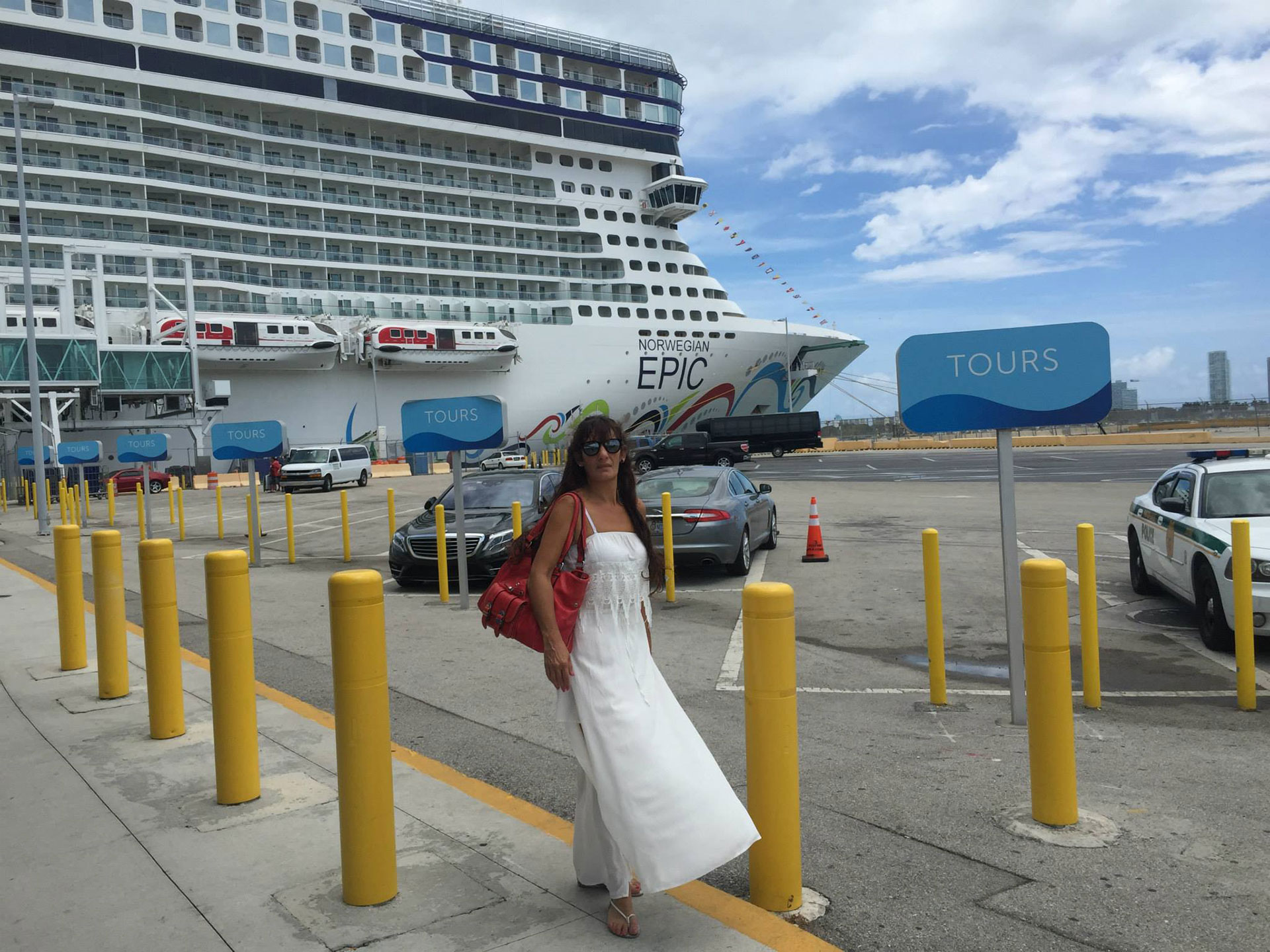Antes de embarcar, en el puerto de Miami.