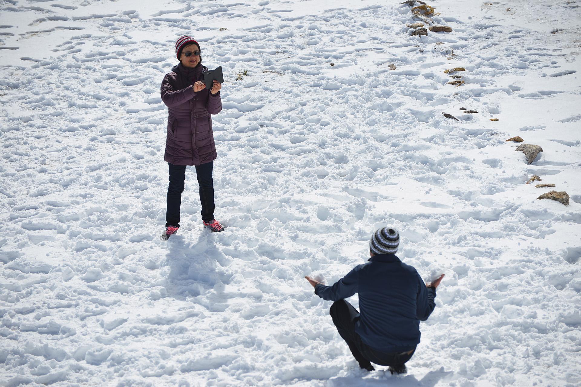 El frente frío también se hizo presente en la localidad de Esquel