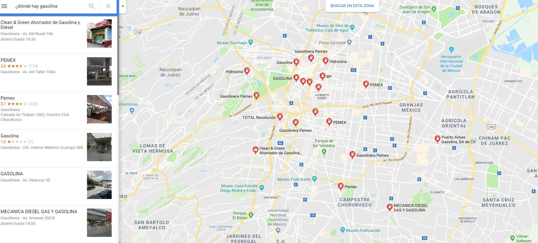Google maps lanza función con la puedes ubicar las gasolineras que sí tienen combustible (Foto: Captura de pantalla)