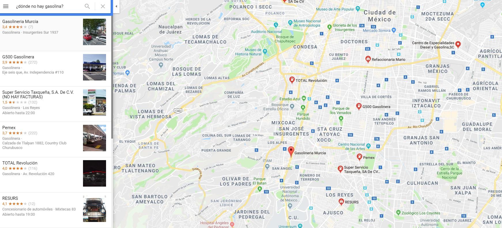 Google Maps lanzó la función para ubicar las gasolineras donde no hay combustible (Captura de pantalla)