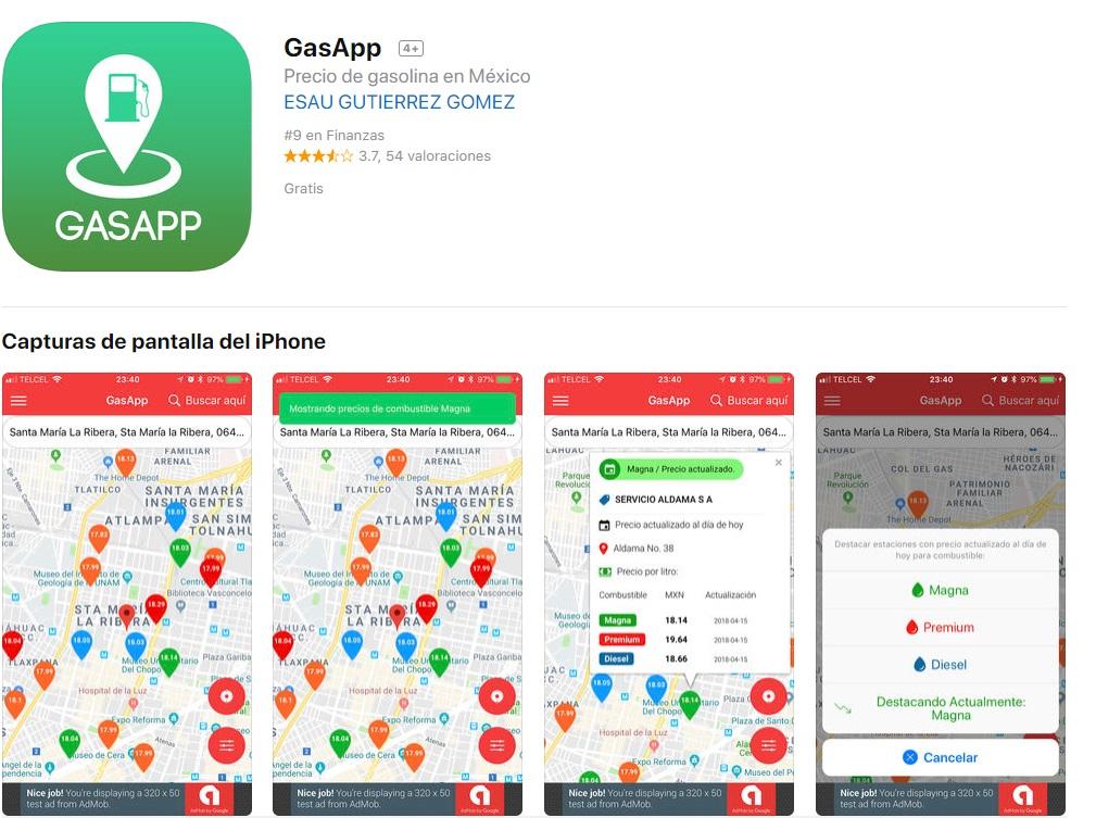 Esta aplicación te permite conocer los precios de la gasolina en los comercios cercanos a tu ubicación (Captura de pantalla)