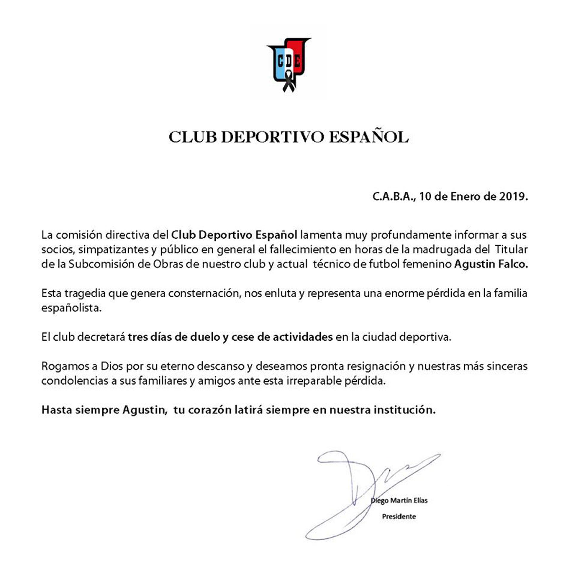 El comunicado que emitió Deportivo Español