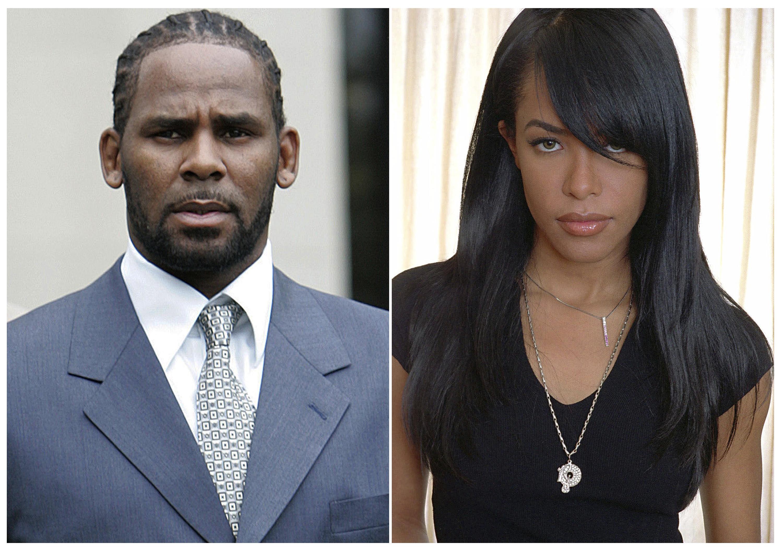R. Kelly tras el primer día de selección del jurado en su juicio por pornografía infantil en la corte penal del condado de Cook, en Chicago, el 9 de mayo del 2008, y la difunta cantante y actriz Aaliyah (AP)