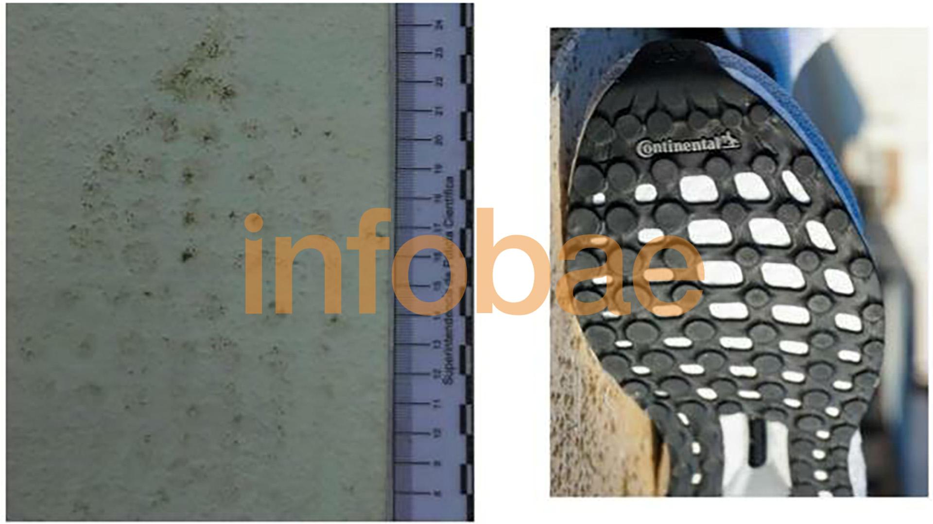 Las huellas de una de las zapatillas