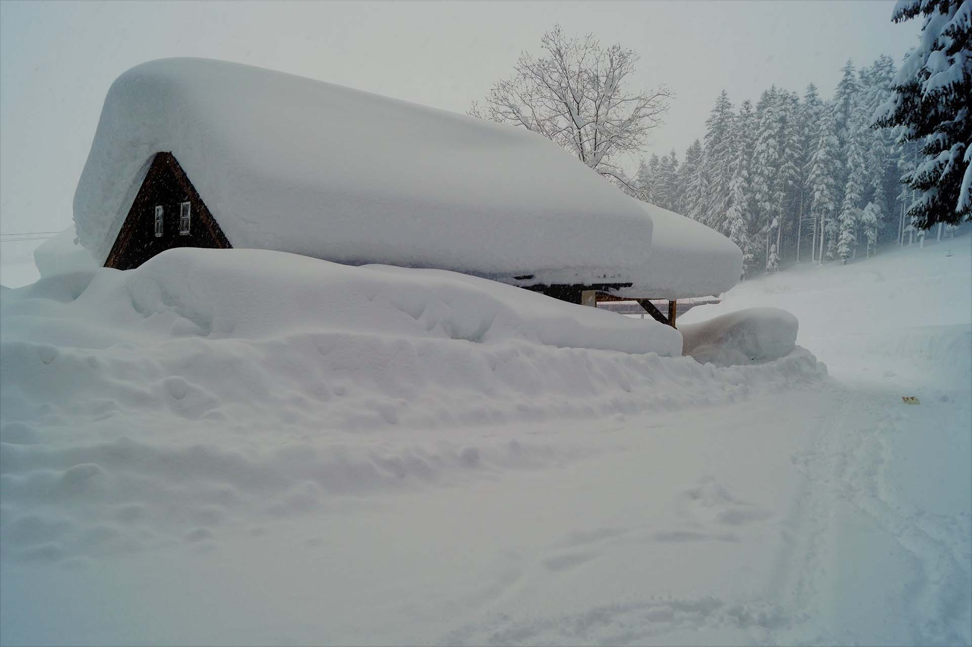 Una vivienda cubierta de nieve en Abtenau, Austria A general (COURTESY MONIKA LUENER/via REUTERS)