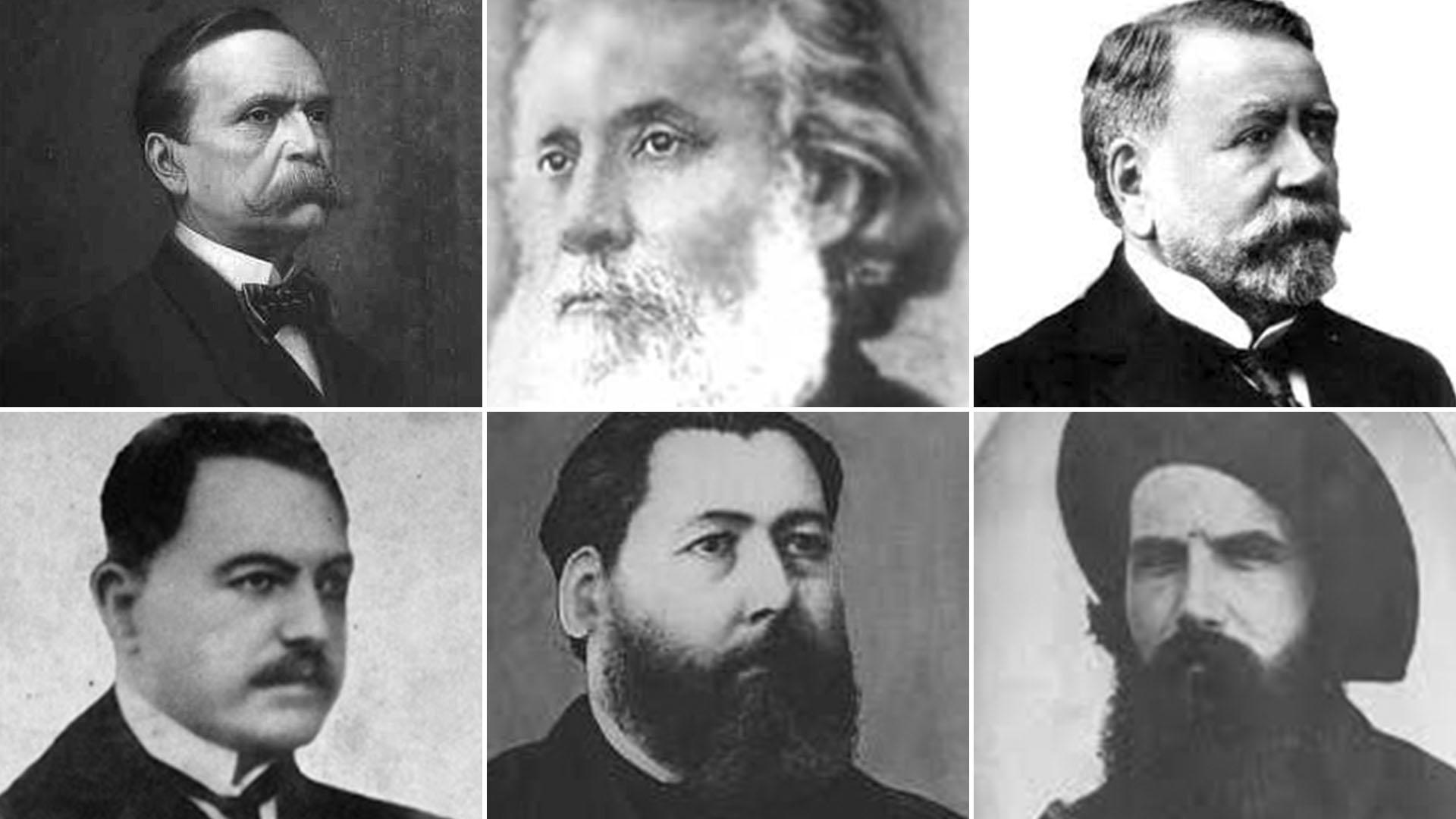 Apoyos de Roca en el 80: (arriba, de izq a der) Carlos Pellegrini, Carlos Guido y Spano, Dardo Rocha; (abajo) Hipólito Yrigoyen, José Hernández y Lucio V.Mansilla