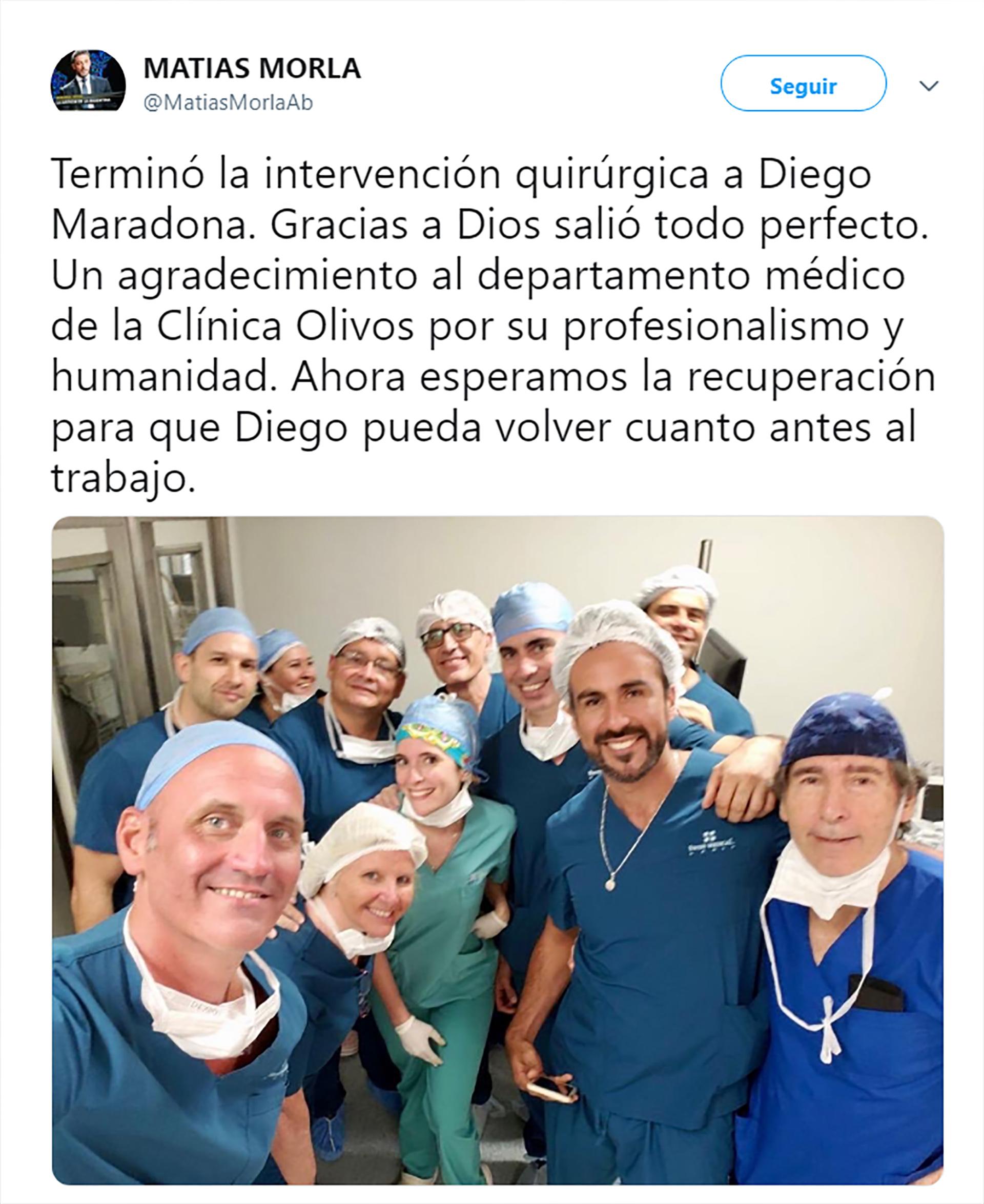 La publicación del abogado de Maradona informando sobre la operación