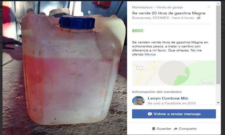 Ofertan la gasolina a través de la red (Foto: Facebook Market)