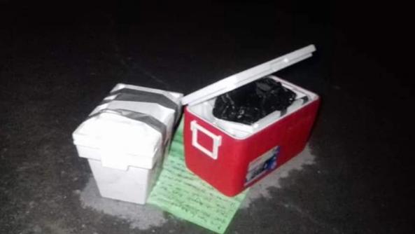 Los restos fueron dejados en las inmediaciones de tres penales (Foto: @Sr_JUZTICIA)