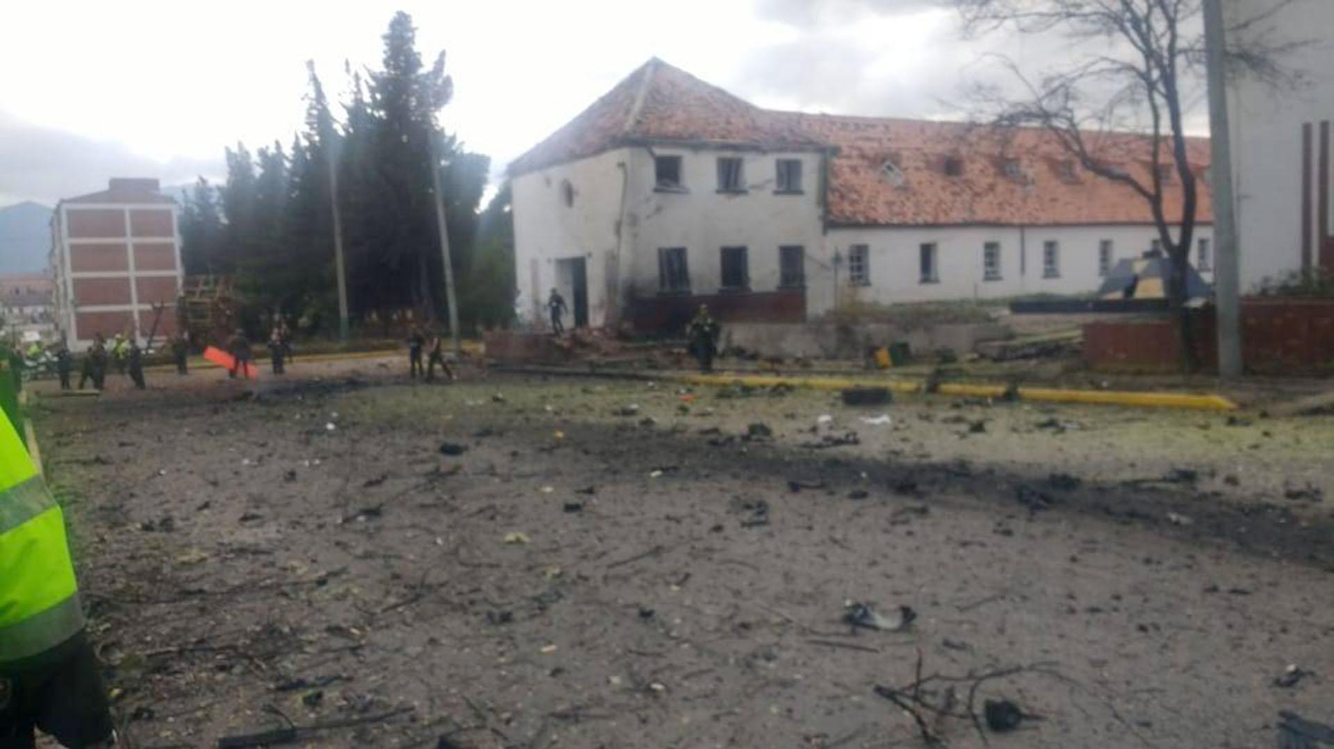 Así quedó la Escuela Militar de cadetes General Santander, al sur de Bogotá, luego de la explosión.