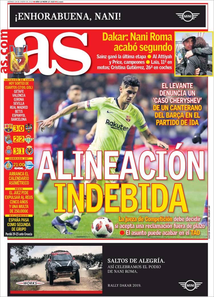 El tema está instalado en los medios españoles (Tapa diario As)