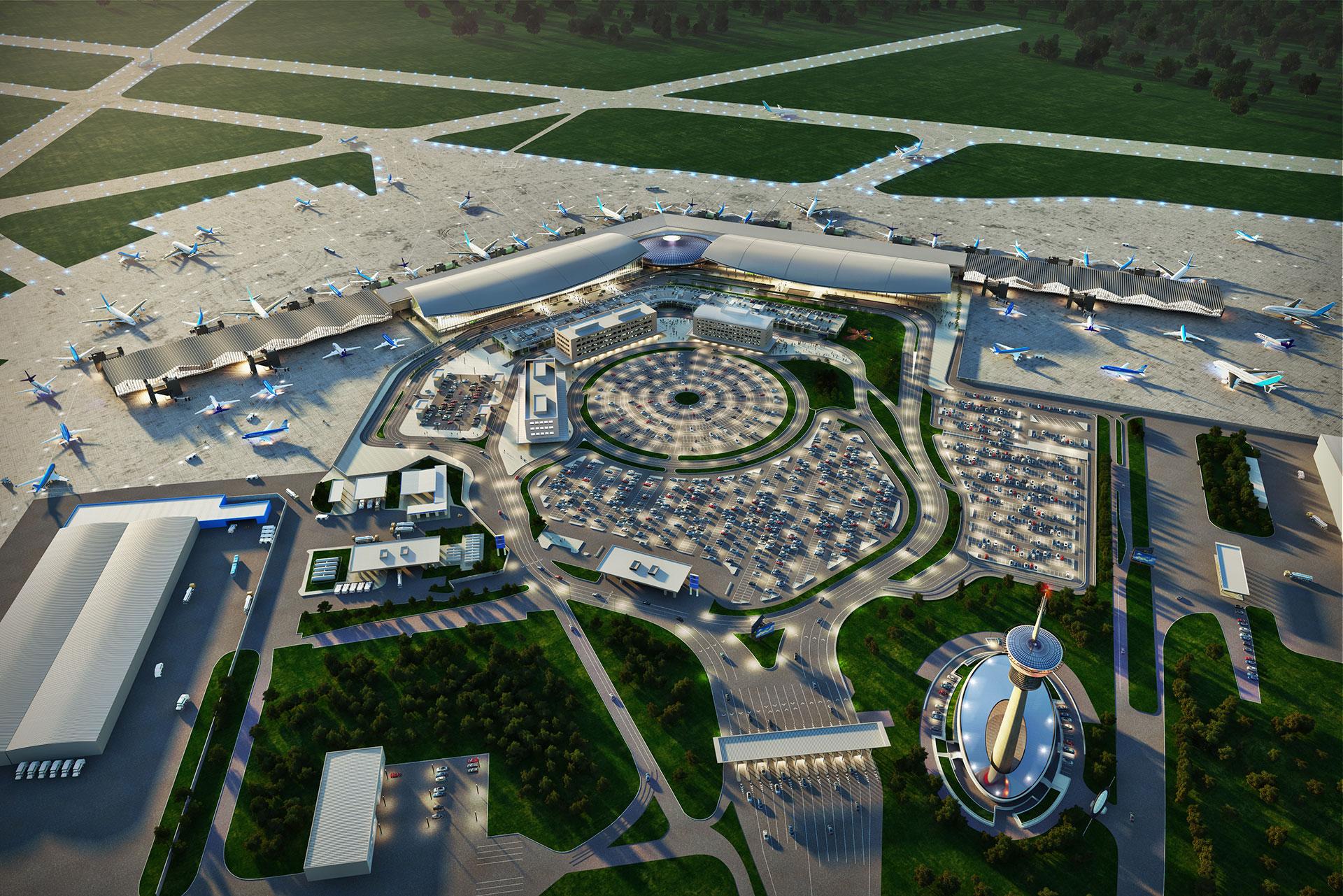 Render de la remodelación del aeropuerto de Ezeiza