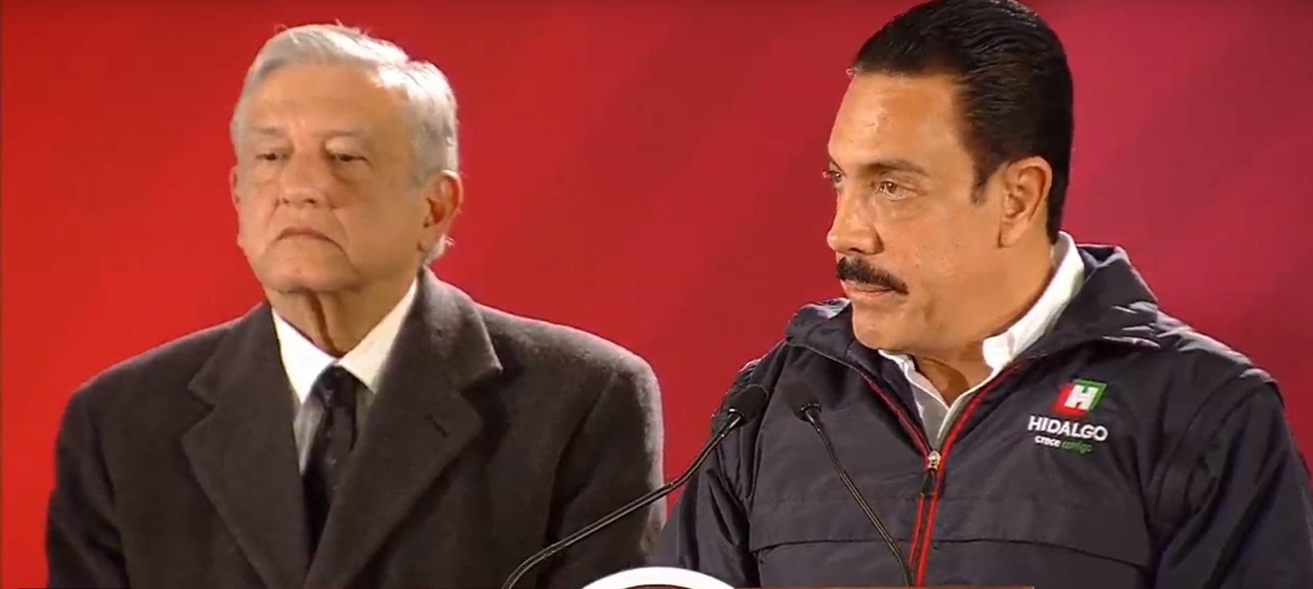 El presidente Andrés Manuel López Obrador y el gobernador de Hidalgo, Omar Fayad (Foto: Captura de Pantalla)