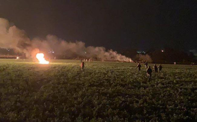 Se registró esta noche una explosión presuntamente de una toma clandestina de esta entidad, en la que de acuerdo a los primeros reportes de las autoridades se reportan varios lesionados. FOTO: SEDENA /CUARTOSCURO.COM