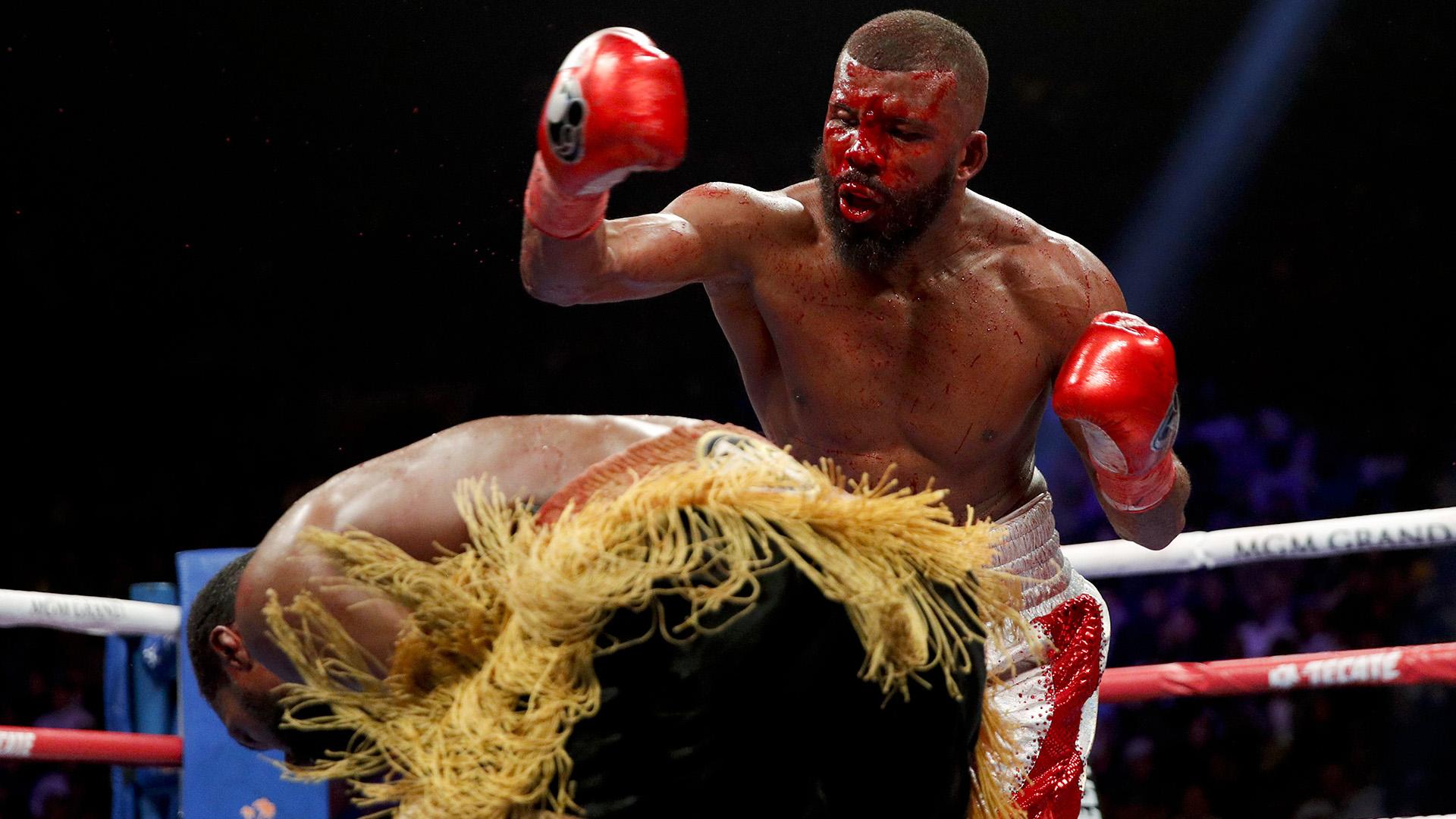 Marcus Browne ducks during his WBA interim light heavyweight boxing bout against Badou Jack on Saturday, Jan. 19, 2019, in Las Vegas. (AP Photo/John Locher)