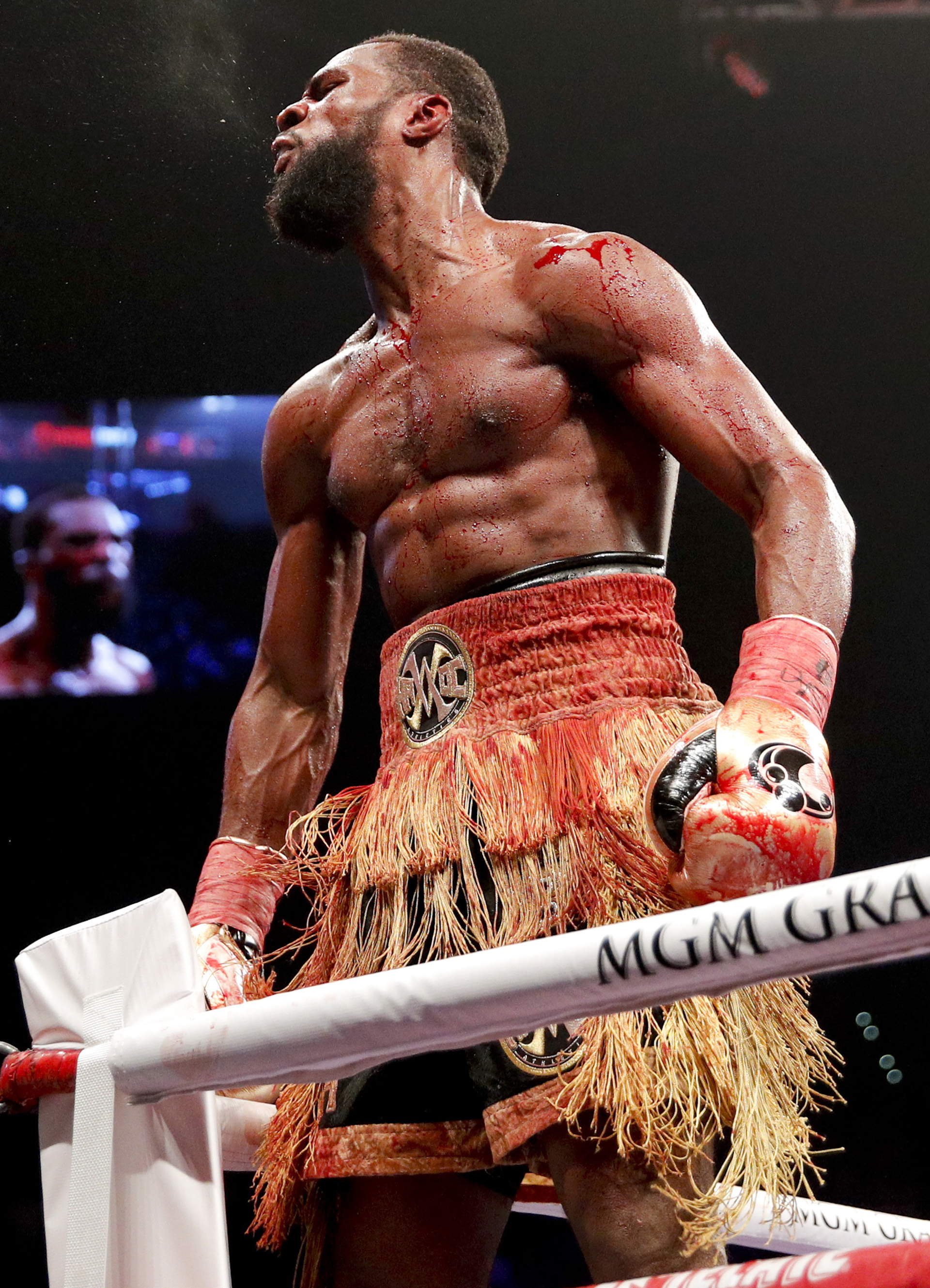 Marcus Browne celebrates his win against Badou Jack in the WBA interim light heavyweight title boxing bout Saturday, Jan. 19, 2019, in Las Vegas. (AP Photo/John Locher)