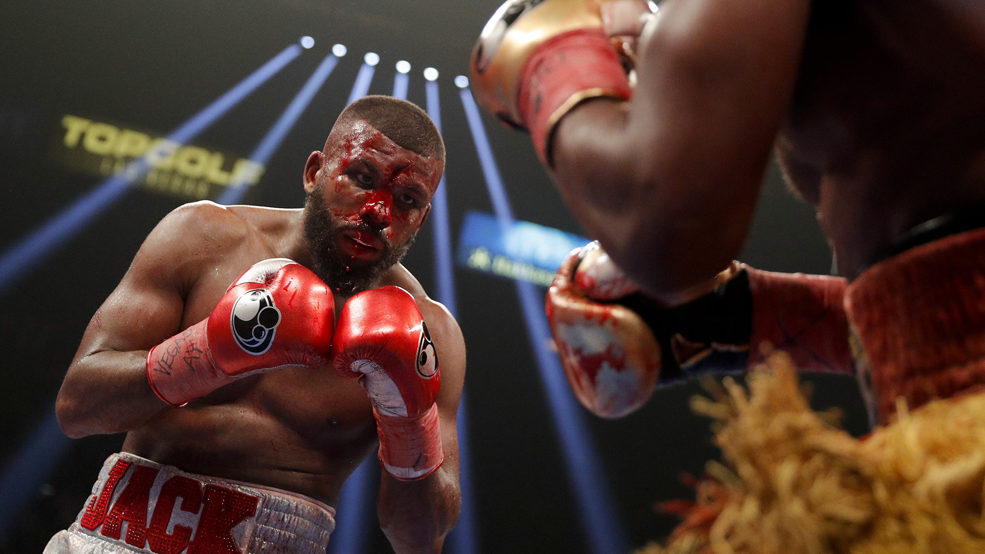 Badou Jack, left, fights Marcus Browne in the WBA interim light heavyweight title boxing bout Saturday, Jan. 19, 2019, in Las Vegas. (AP Photo/John Locher)