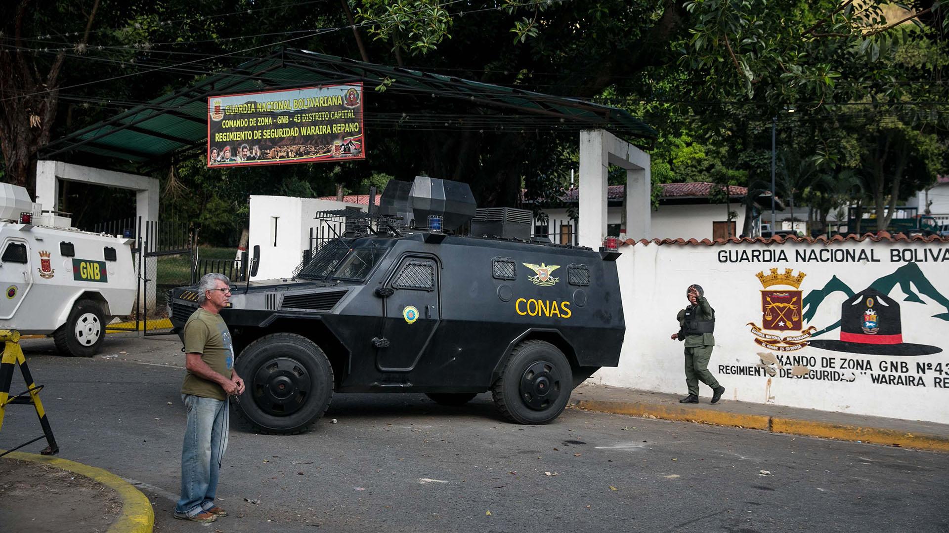 Vista externa del comando de la Guardia Nacional Bolivariana