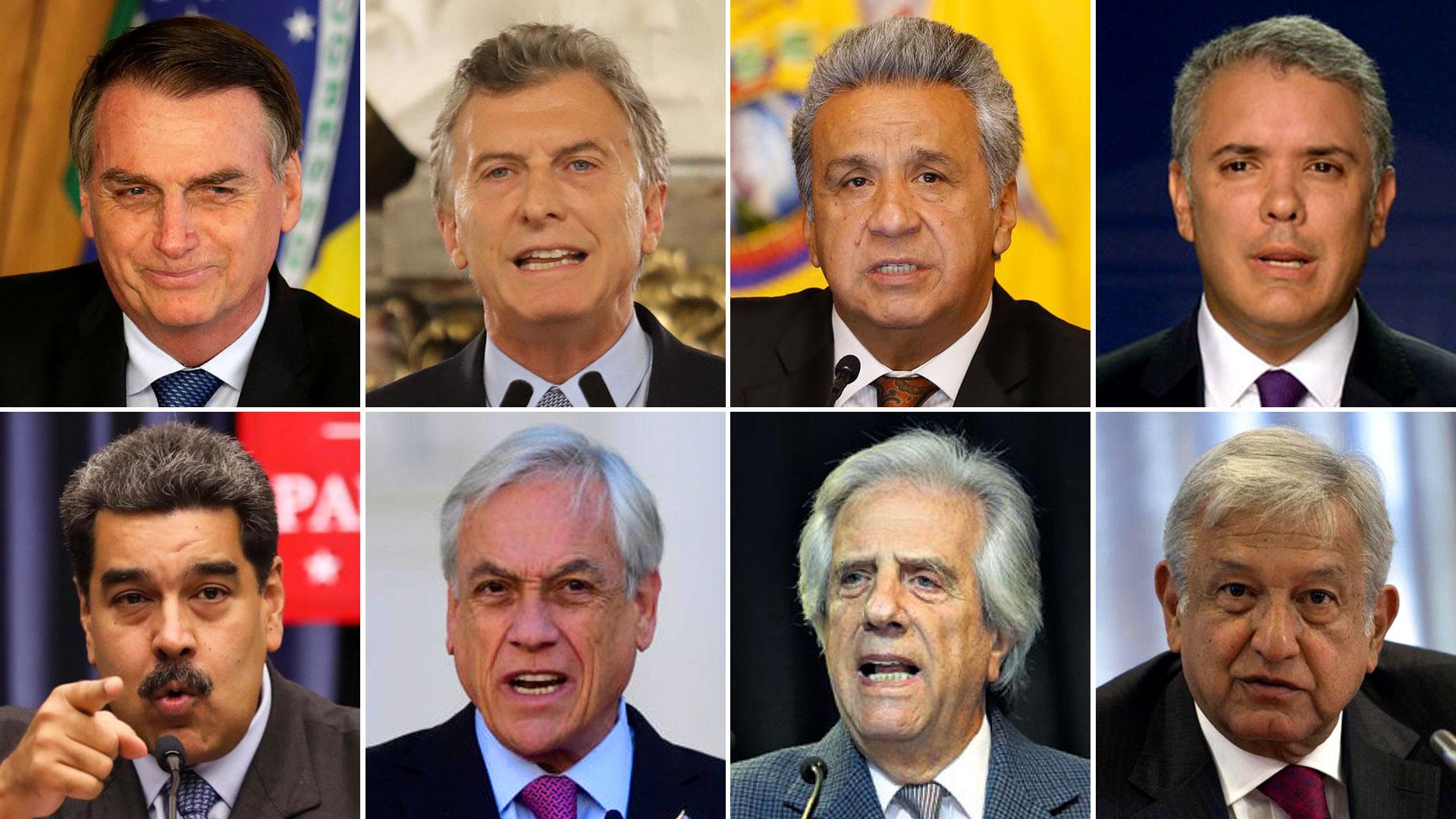 Jair Bolsonaro (Brasil), Mauricio Macri (Argentina), Lenín Moreno (Ecuador), Iván Duque (Colombia), Nicolás Maduro (Venezuela), Sebastián Piñera (Chile), Tabaré Vázquez (Uruguay) y Andrés López Obrador (México)