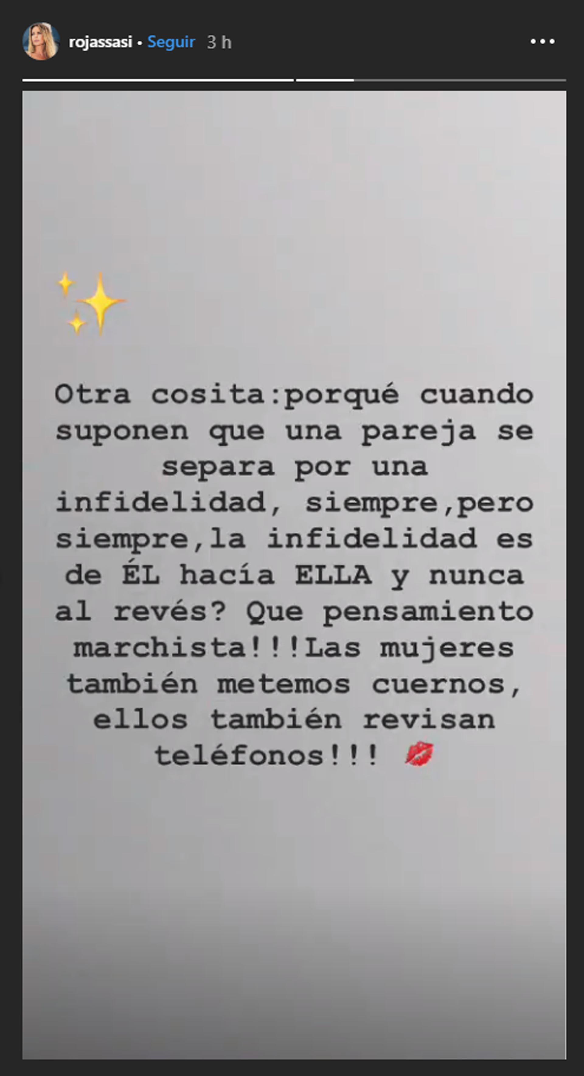 Sabrina Rojas sobre la infidelidad de las mujeres (Instagram)