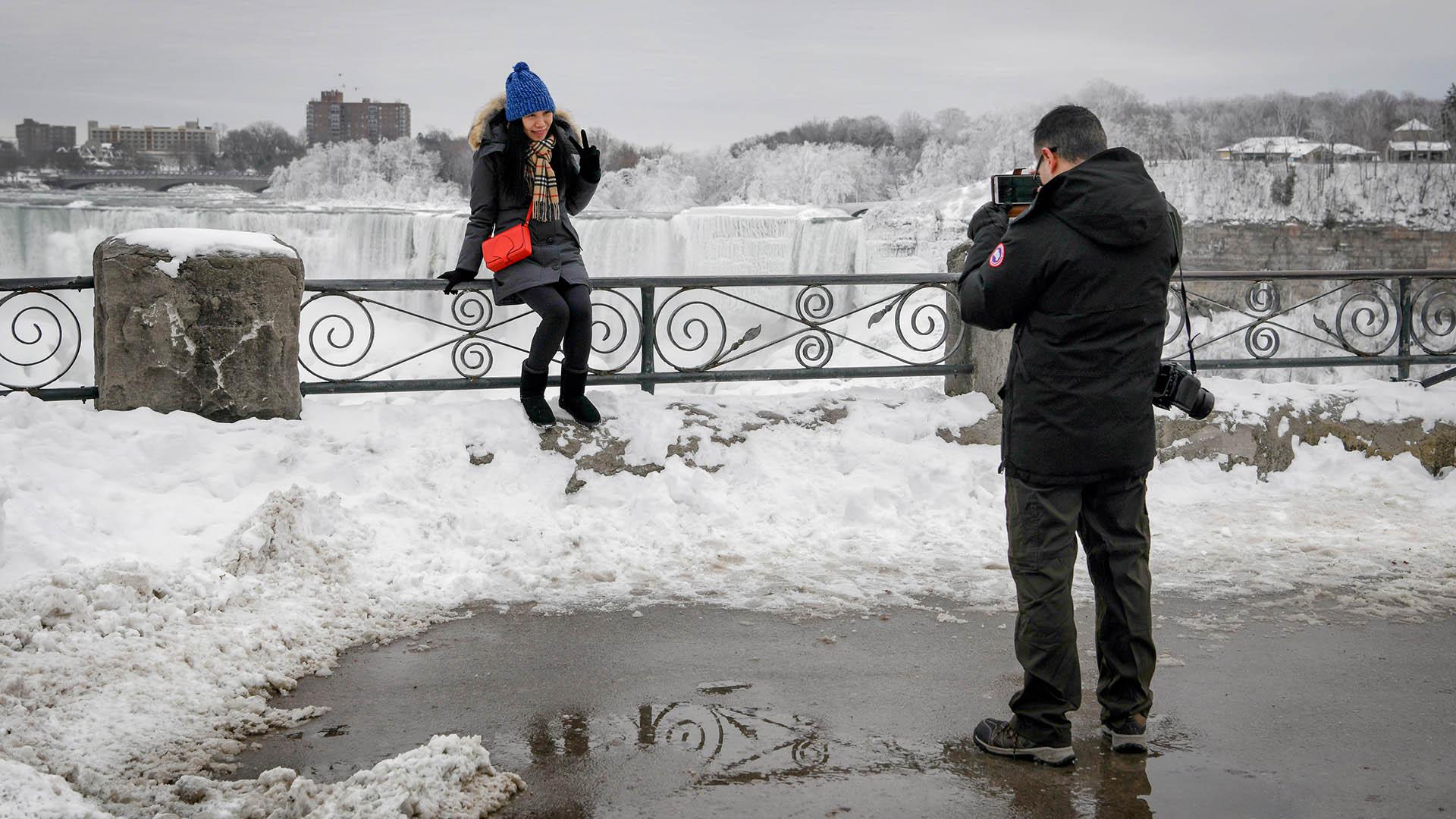 Los valientes que desafiaron el frío se llevaron para el recuerdo fotos con un panorama asombroso