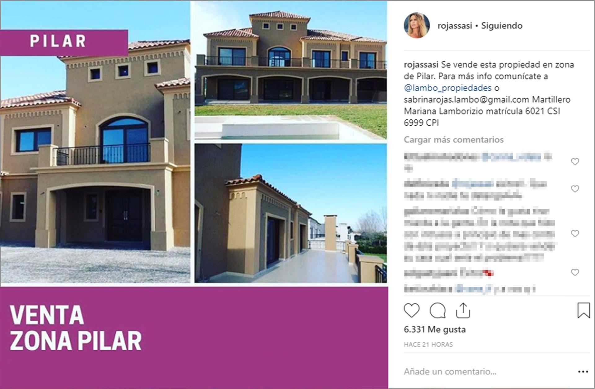 El anuncio de venta de Sabrina Rojas en Instagram