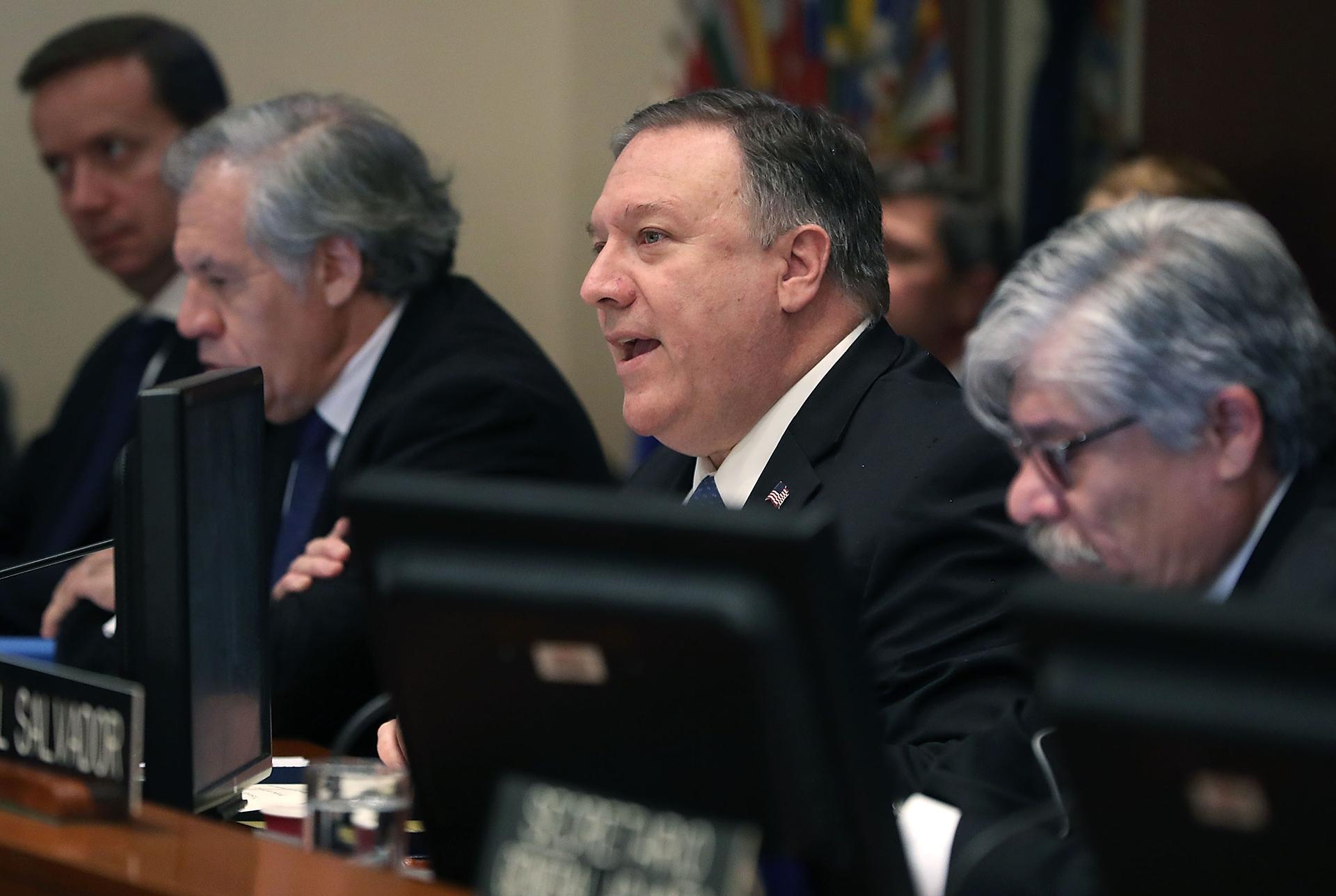 """El secretario de Estado norteamericano, Mike Pompeom participó de la reunión de la OEA y se refirió a Nicolás Maduro como """"ex presidente"""" (AFP)"""