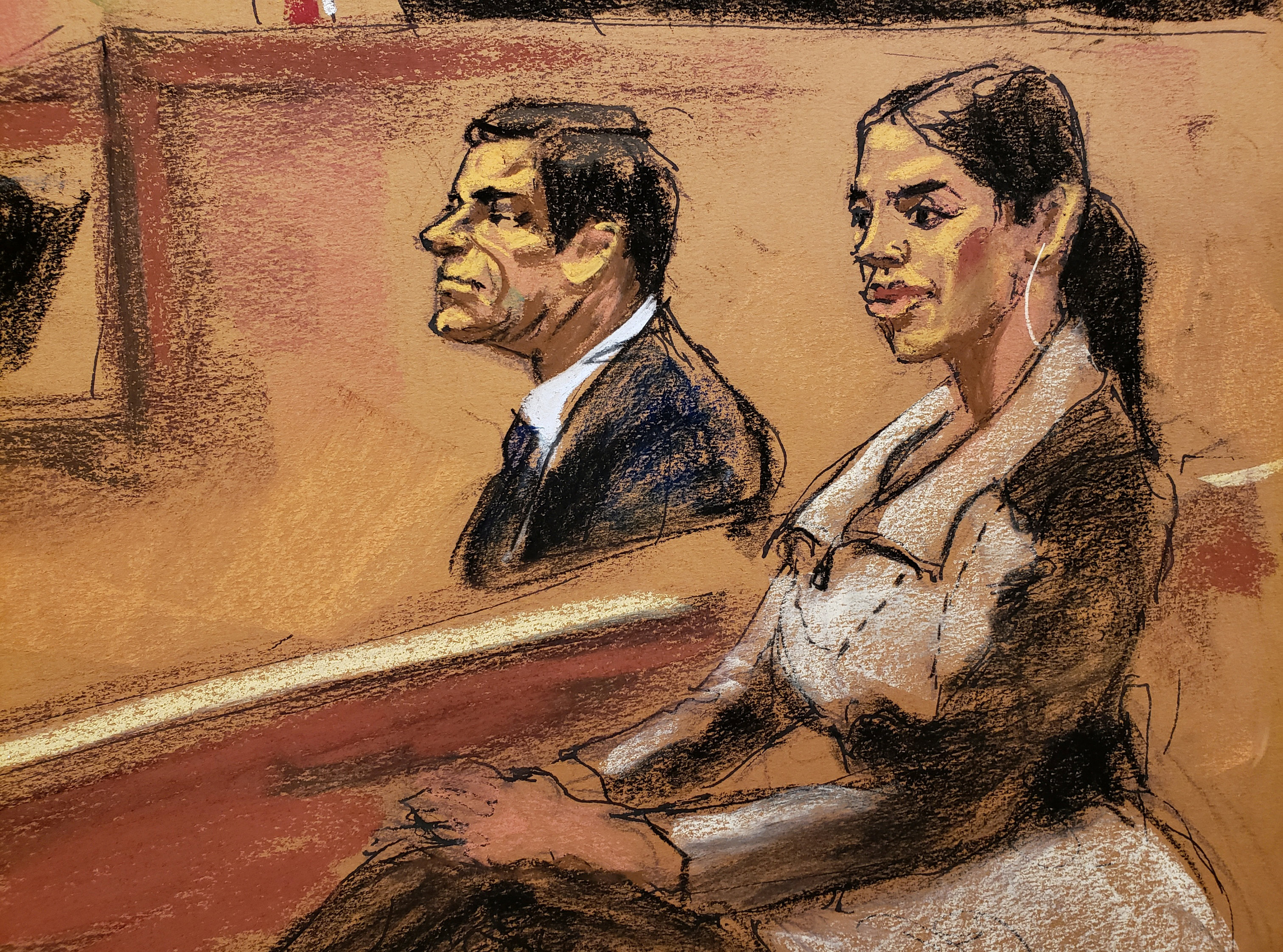 Emma Coronel Aispuro y su esposo Joaquín Guzmán Loera en la corte. (Foto: REUTERS/Jane Rosenberg)
