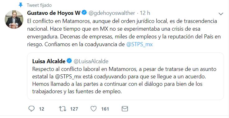 Gustavo de Hoyos, presidente de Nacional de la Confederación Patronal de la República Mexicana (Coparmex), aseguró que el conflicto entre obreros y empresas es de importancia nacional. (Foto: Captura de pantalla)