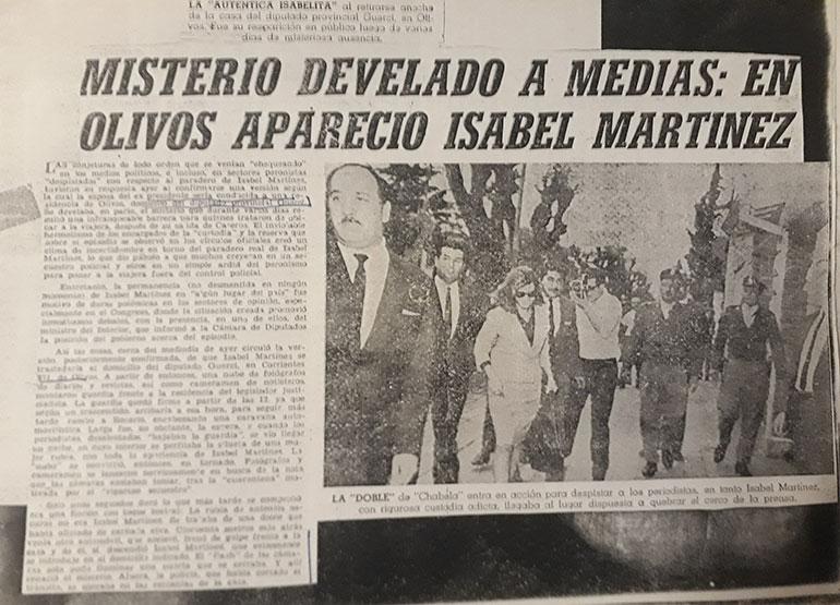 La noticia de la visita de Isabel Perón en 1965