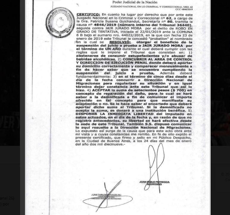 La probation de Jurado Mora dictada por el juzgado de Guichandut.