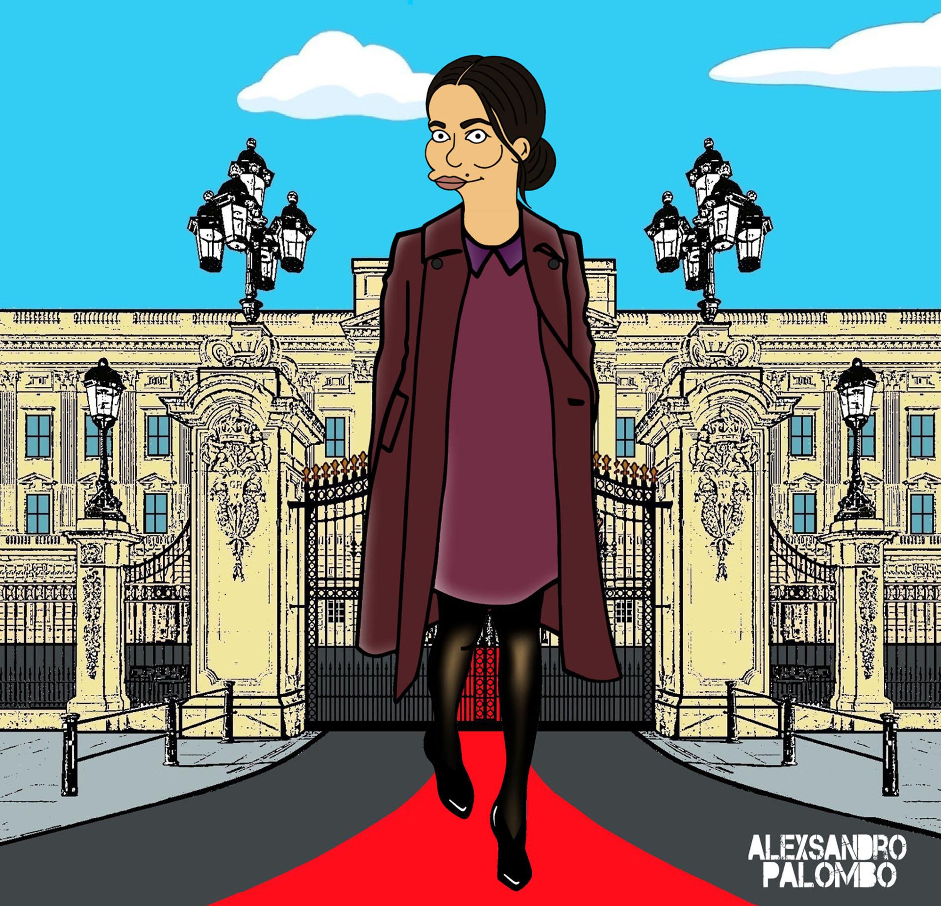 El artista la retrató con los looks con los que se la suele ver en sus apariciones públicas: vestidos cortos con medias de nylon y tapados