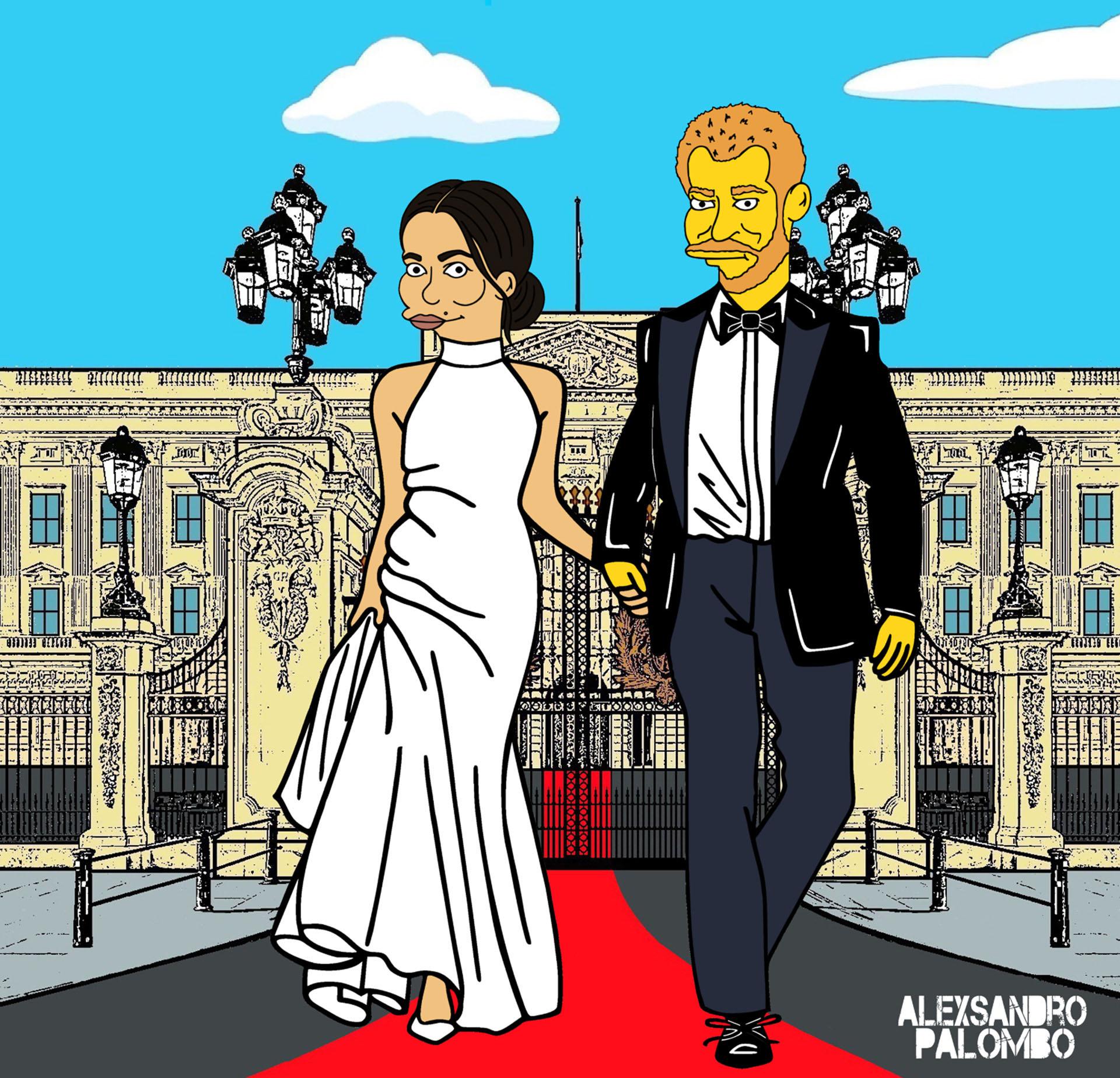 AleXsandro Palombo también digitalizó la foto del día de la boda real de Meghan con el príncipe Harry