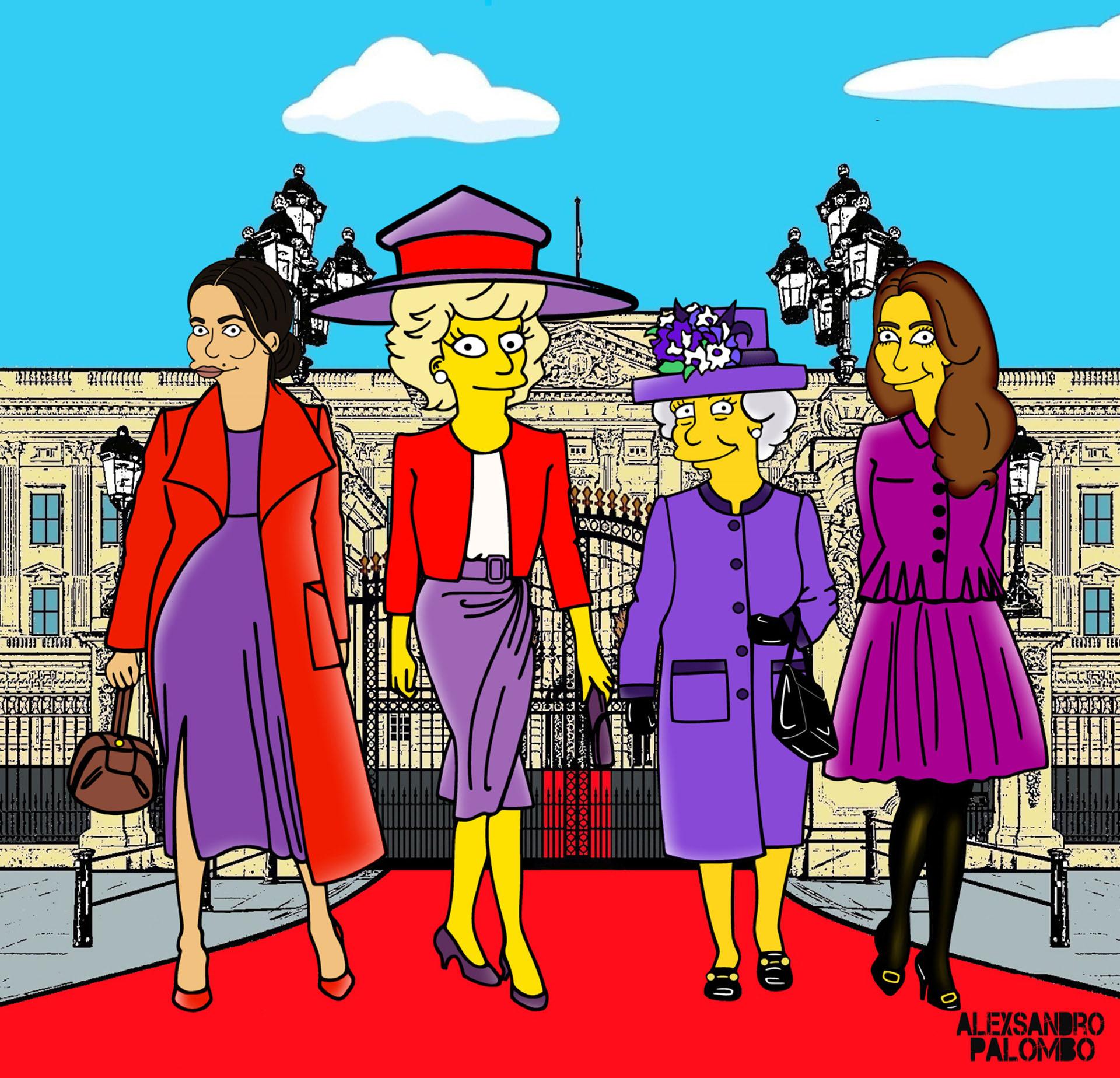 Meghan Markle, Lady Di, la reinaIsabely Kate Middleton simpsonizadas. Con sus vestidos y trajes de dos piezas característicos, el artista recreó al clan británico