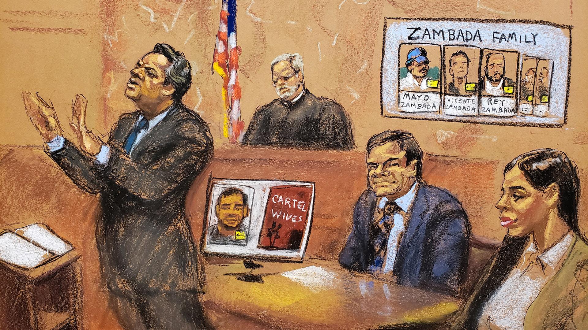 Ilustración del juicio a Guzmán en la ciudad de Nueva York (Foto: Reuters)