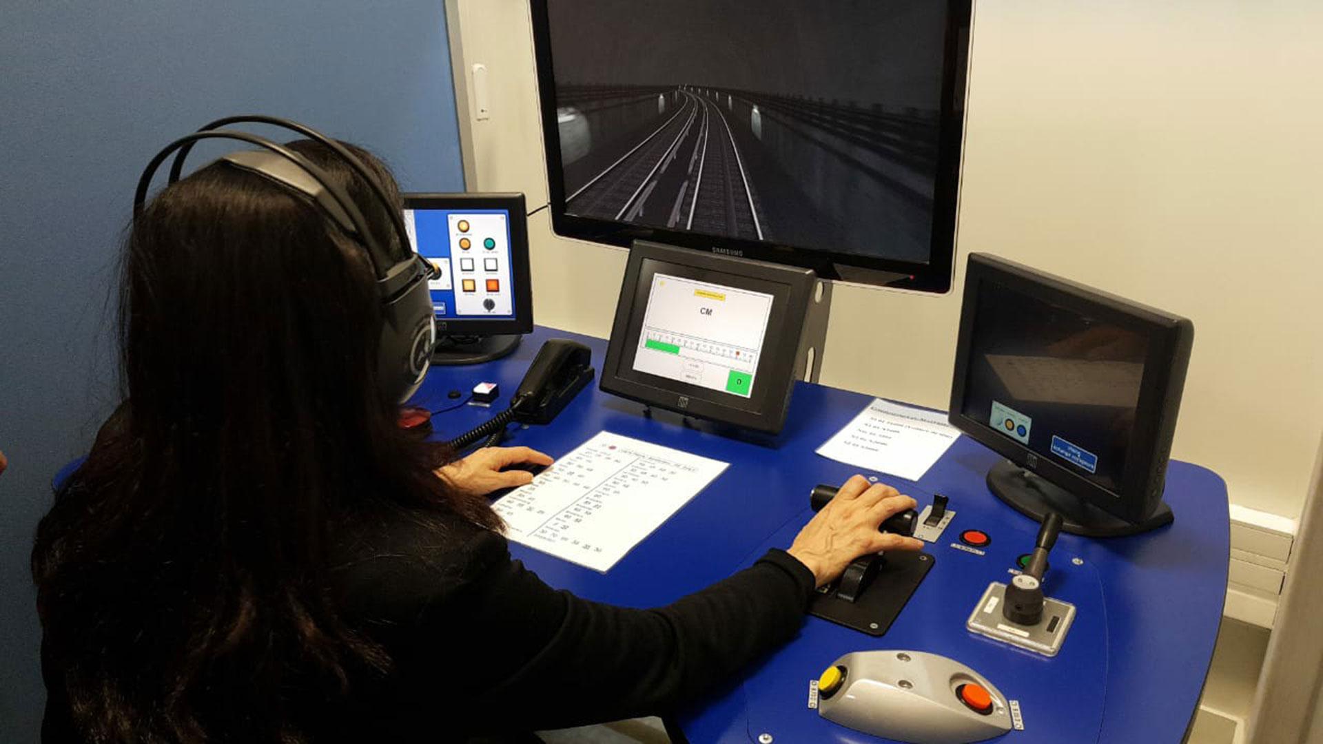Simulador de manejo de subte, en el Centro de Capacitación de la RATP