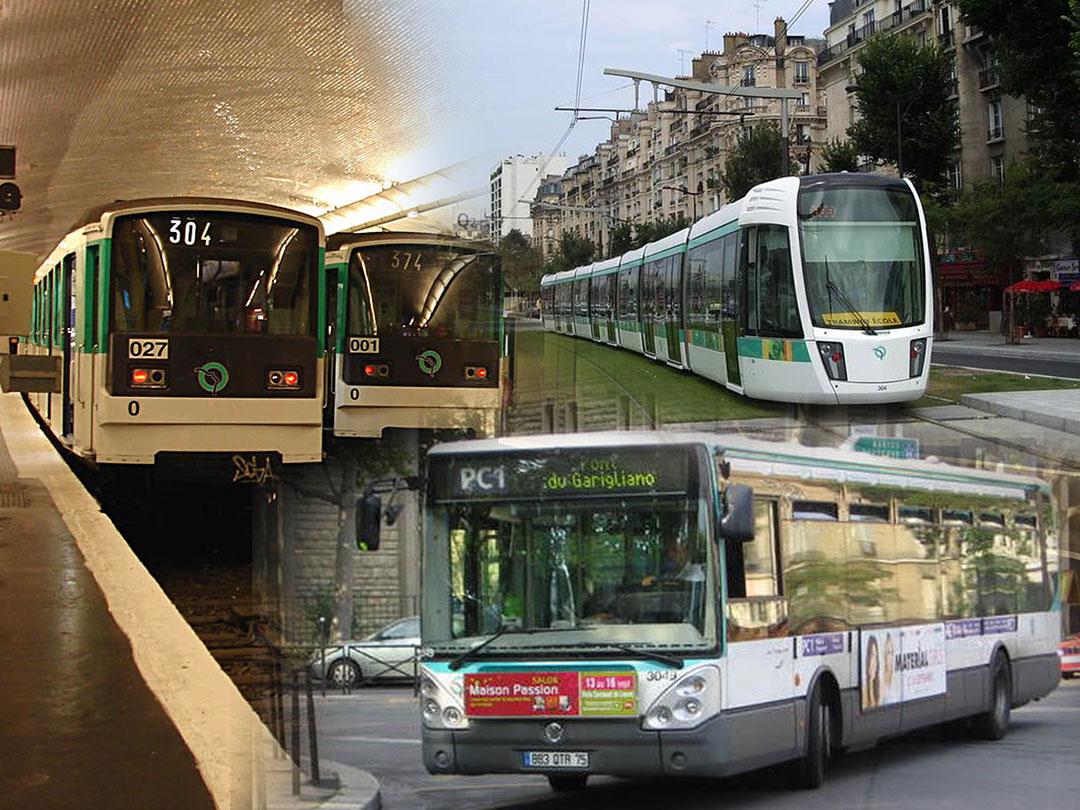 En París, la RATP opera subtes, tranvías y buses. También la Red Expreso Regional (RER)