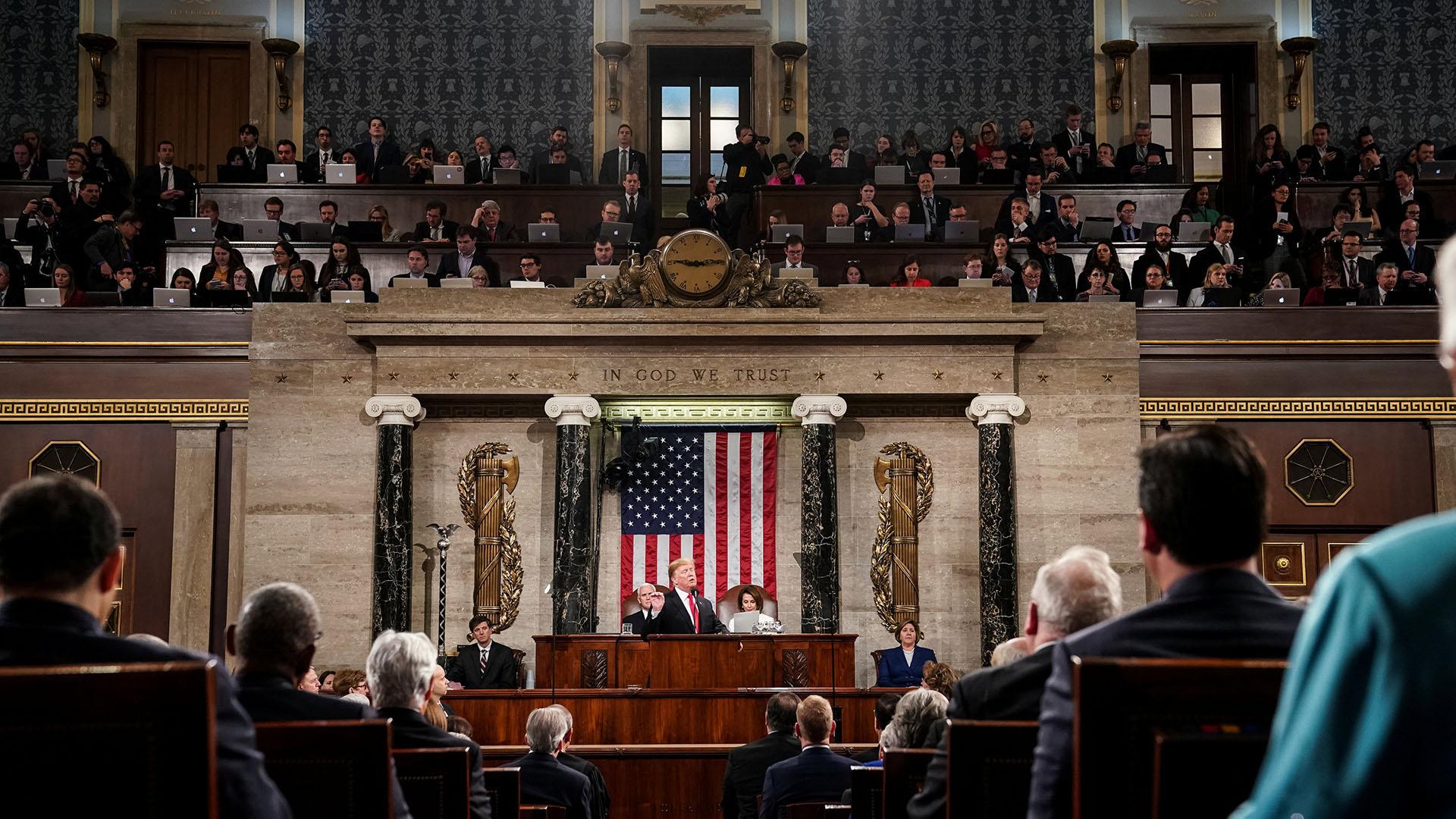 Donald Trump en su discurso del Estado de la Unión. (Doug Mills/Pool via REUTERS)