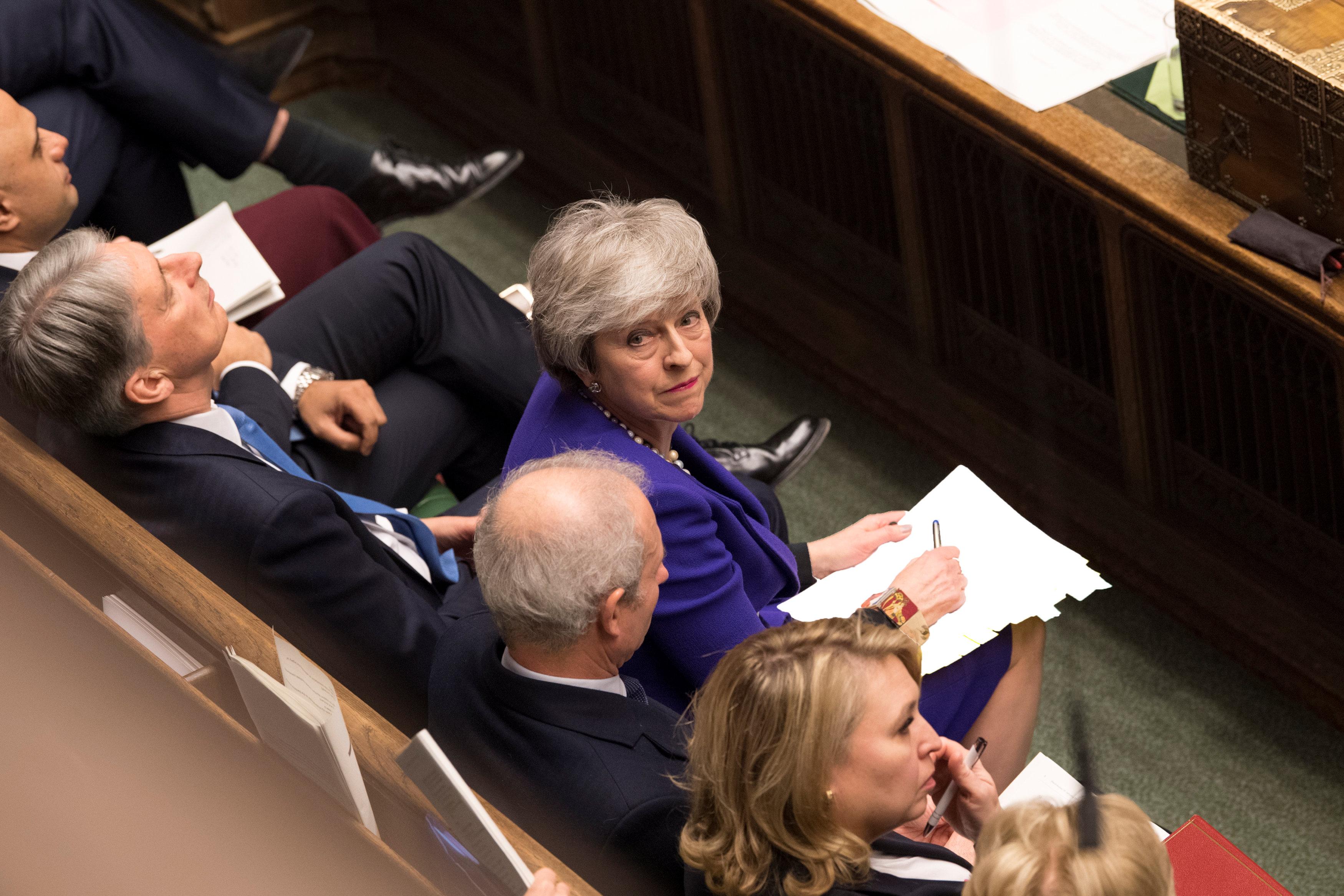 La primera ministra Theresa May durante un debate en el parlamento británico el30 de enero (Mark Duffy via REUTERS)