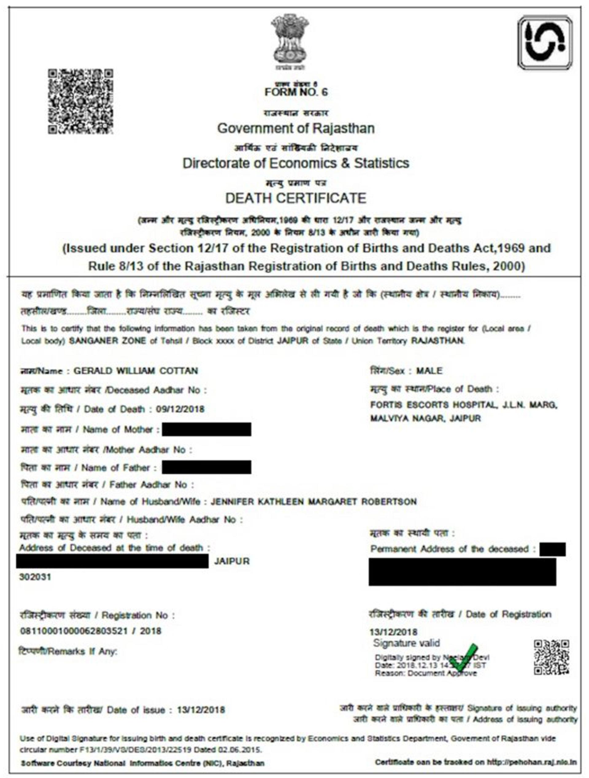 El certificado de fallecimiento de Gerald Cotten. (CoinDesk)